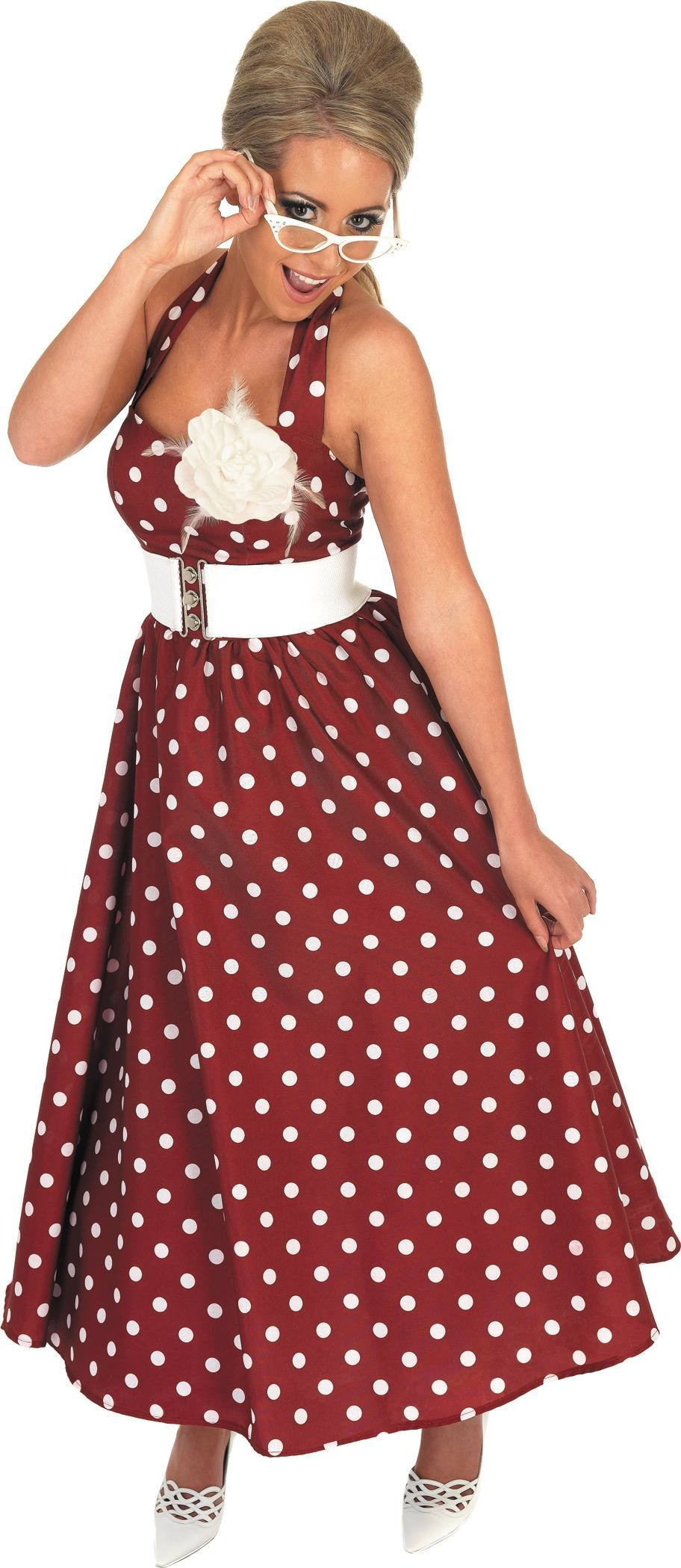 1950S Red Day Dress Fancy Dress Costume