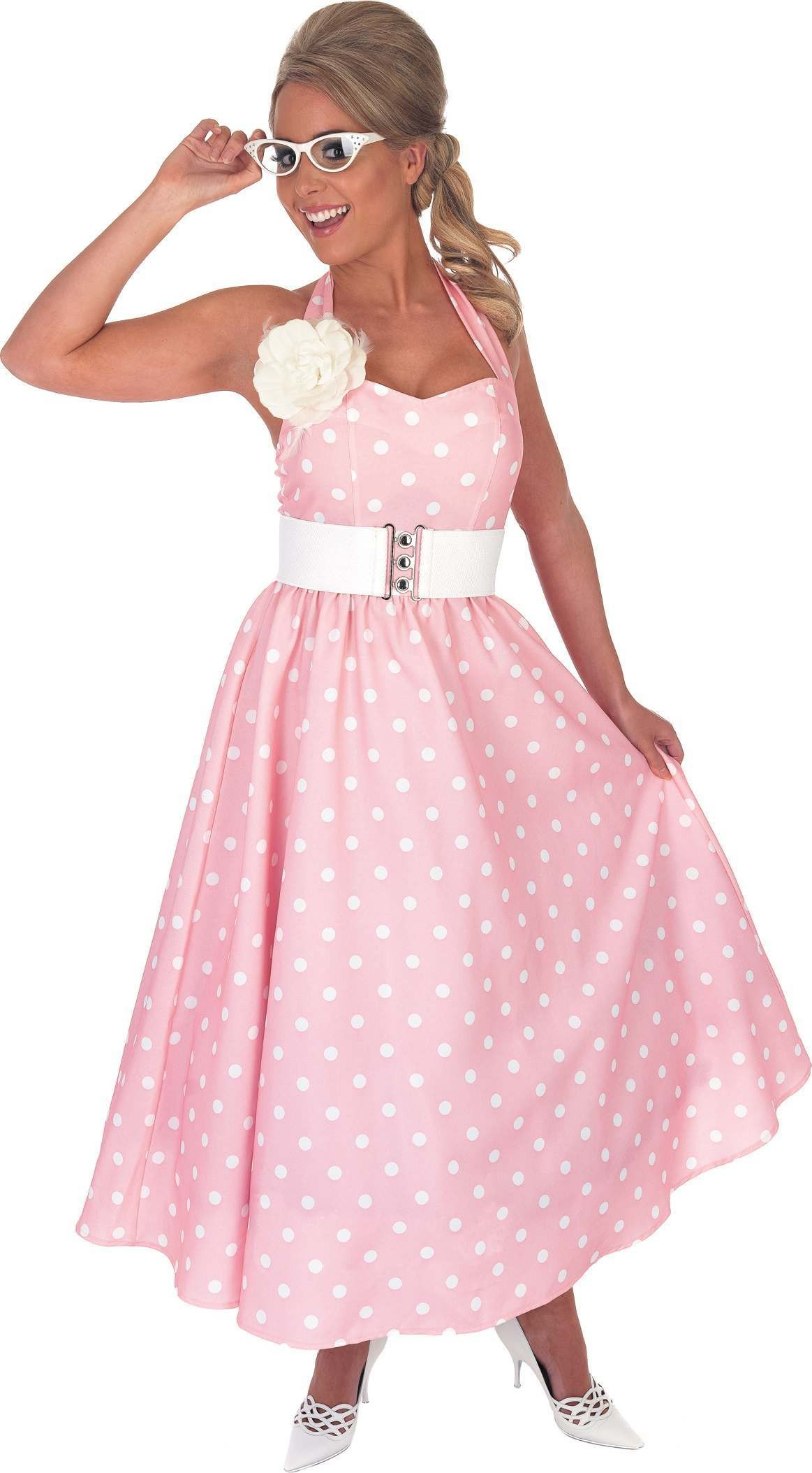 1950S Pink Day Dress Fancy Dress Costume