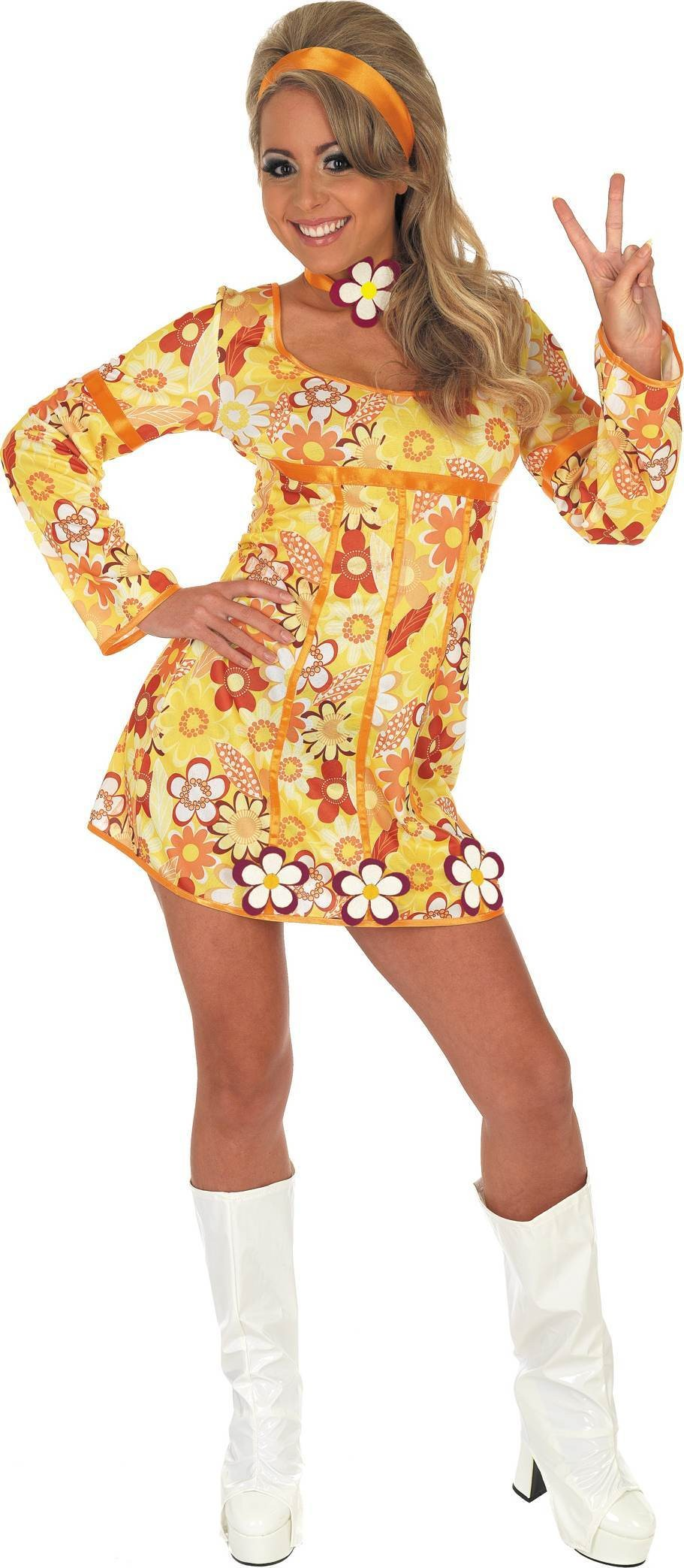 Yellow Hippie Dress Fancy Dress Costume
