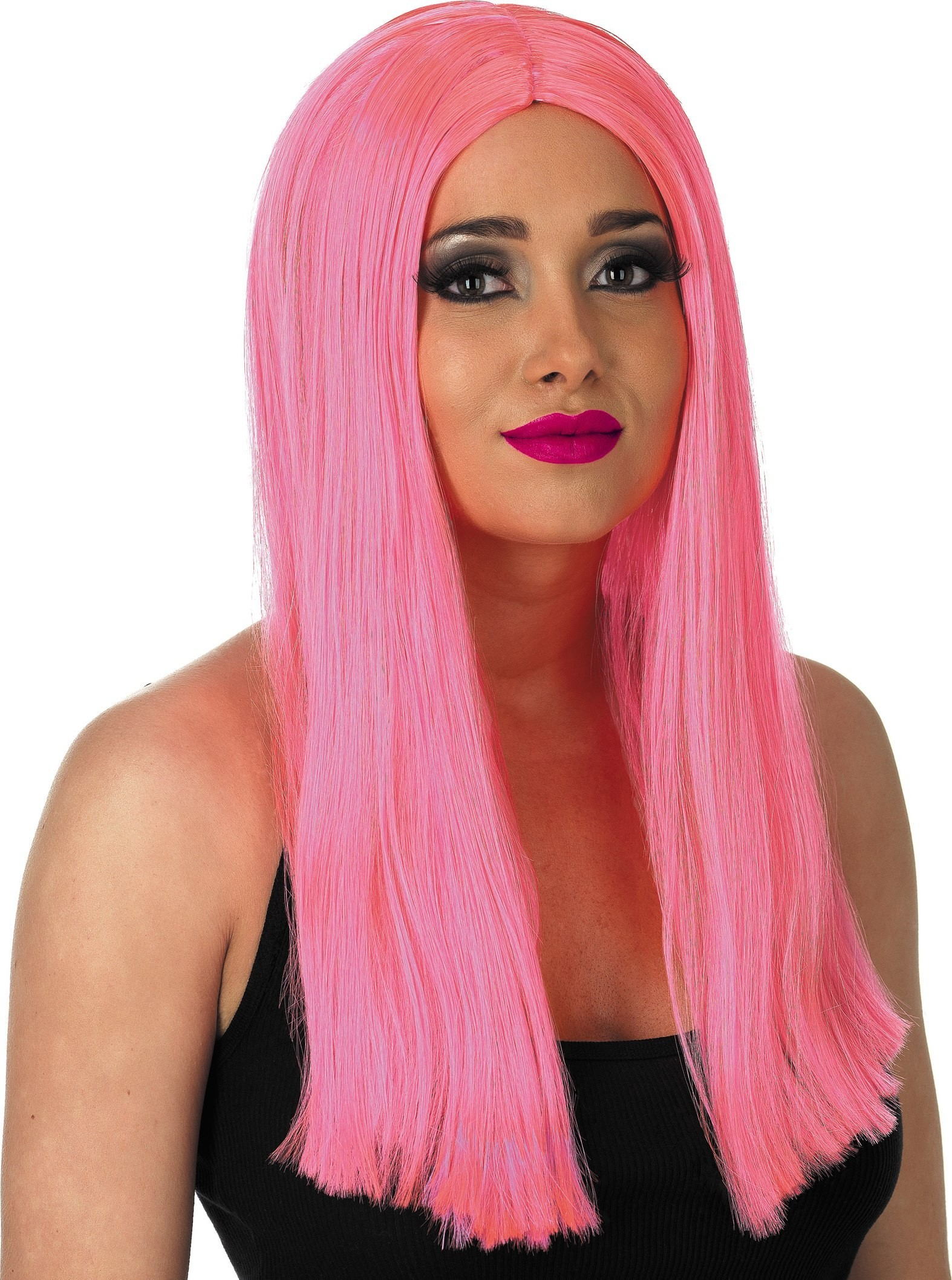 Long Neon Pink Wig (1980S Fancy Dress Wigs)