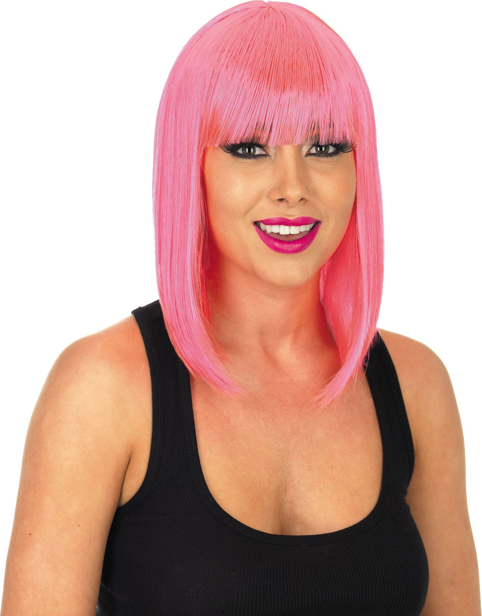 Straight Neon Pink Wig (1980S Fancy Dress Wigs)