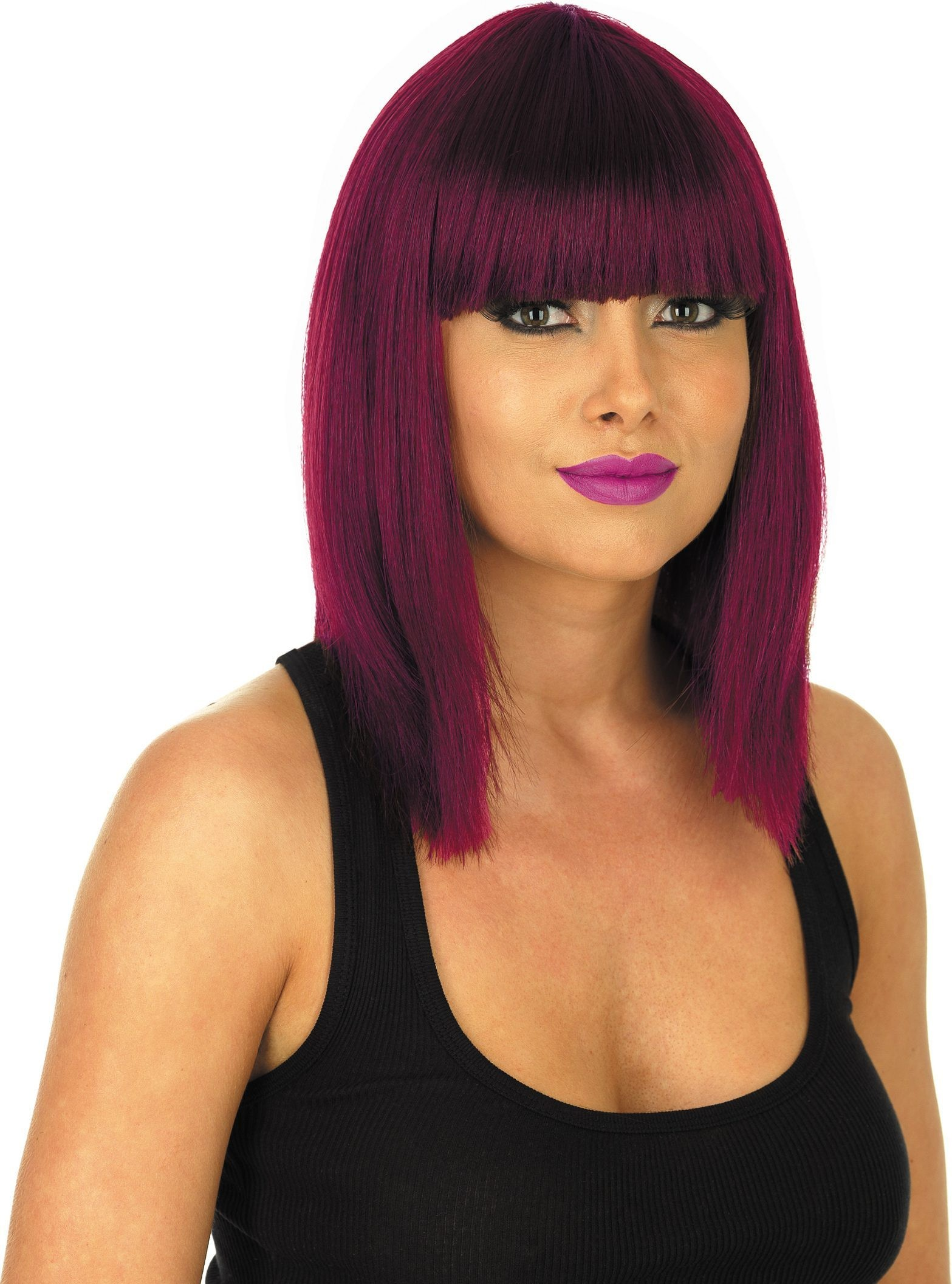 Straight Burgundy Wig (Halloween Wigs)