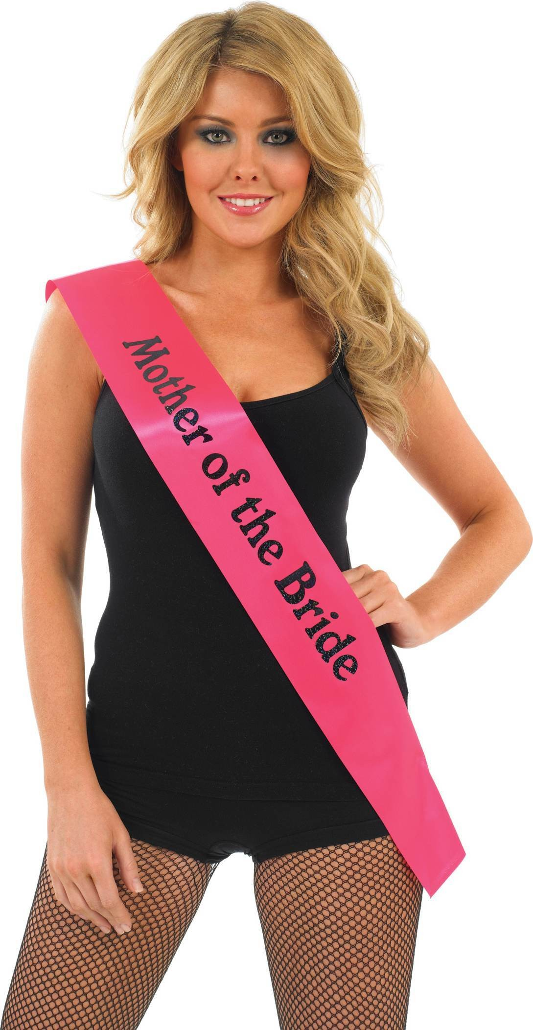 Mother Of The Bride Sash - Pink With Black (Hen & Stag Fancy Dress)