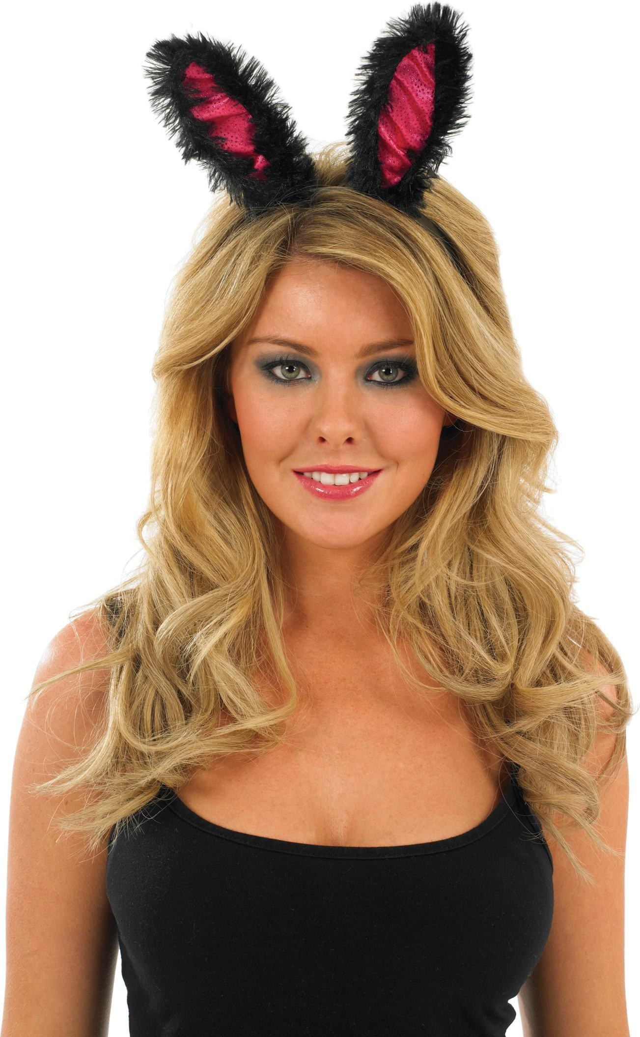 Pink Bunny Ears With Black Fur (Animals Fancy Dress Disguises)