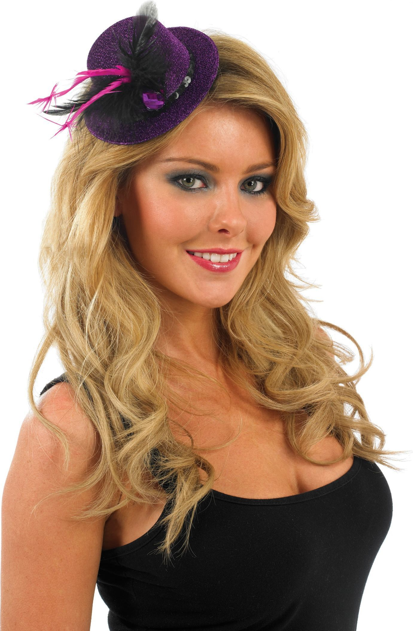 Glitter Top Hat-Purple With Black (Hen & Stag Fancy Dress Hats)