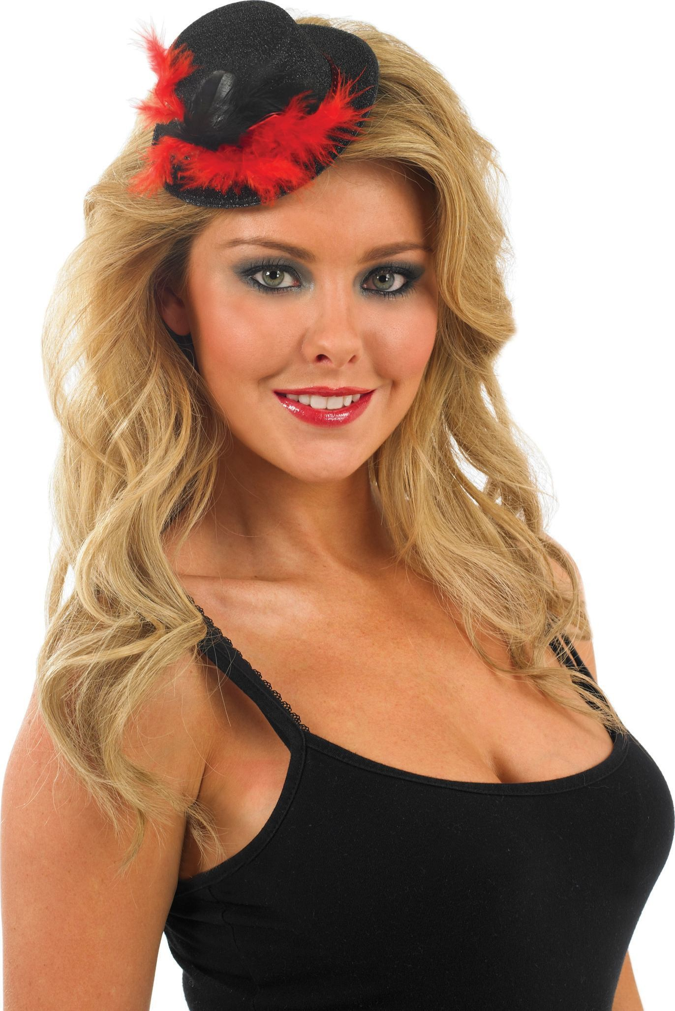 Glitter Top Hat-Black With Red (Hen & Stag Fancy Dress Hats)