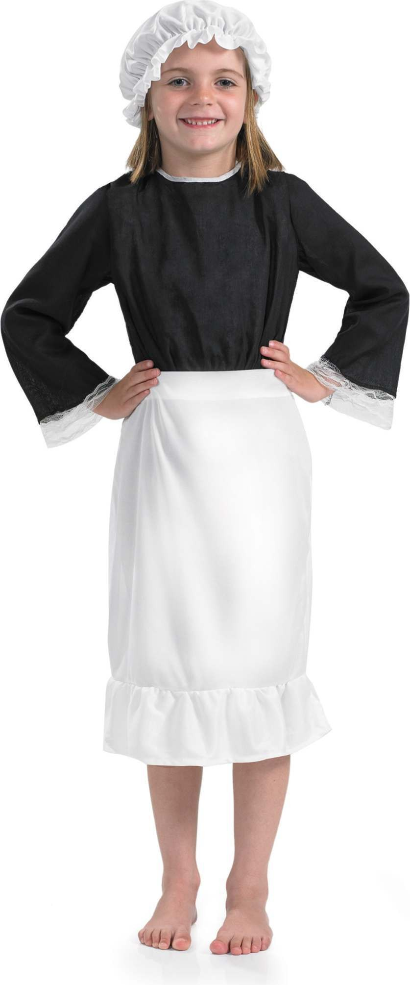 Victorian White Kitchen Hat & Apron (Old English Fancy Dress)