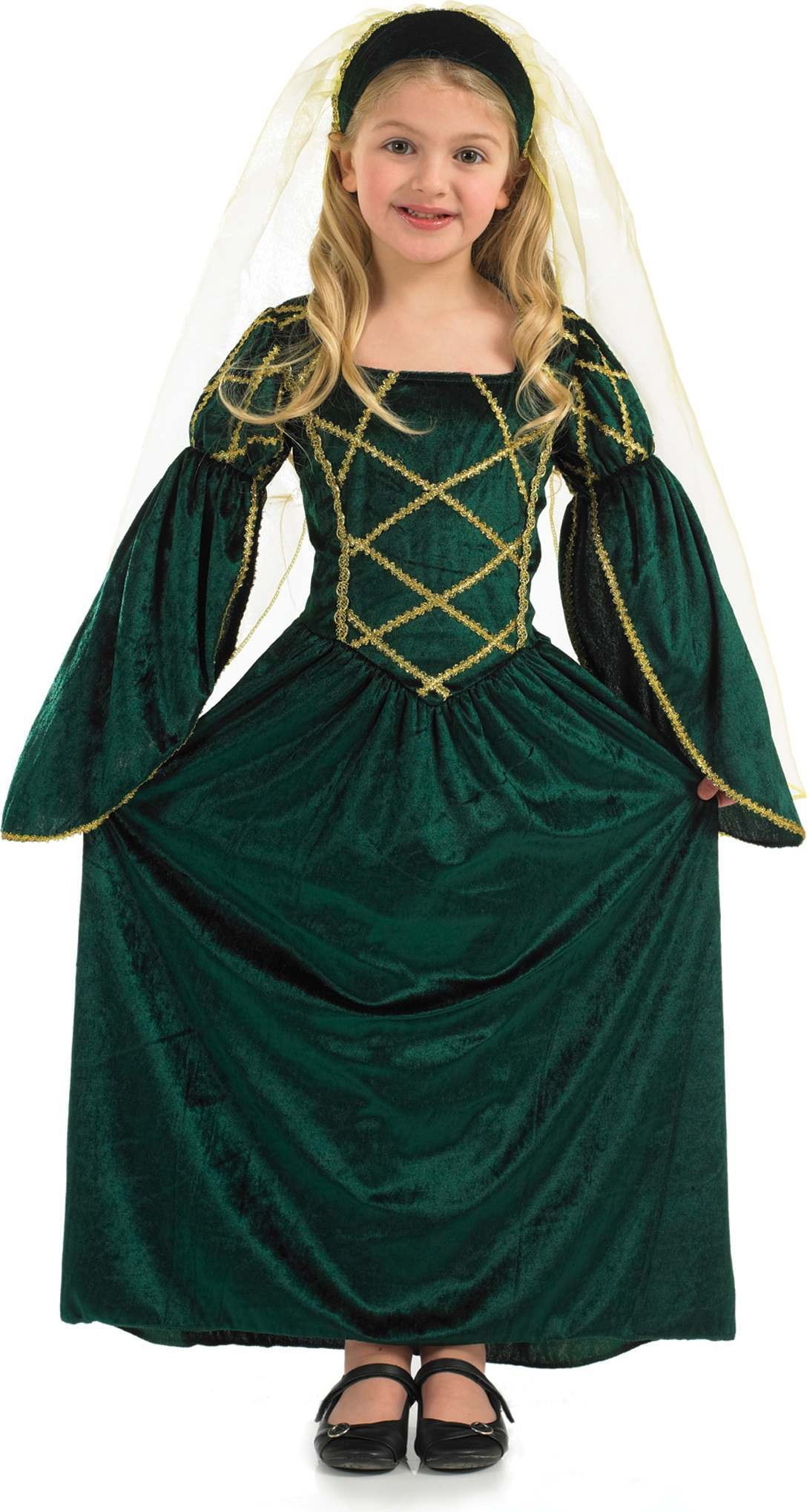 Green Tudor Dress Girl Fancy Dress Costume