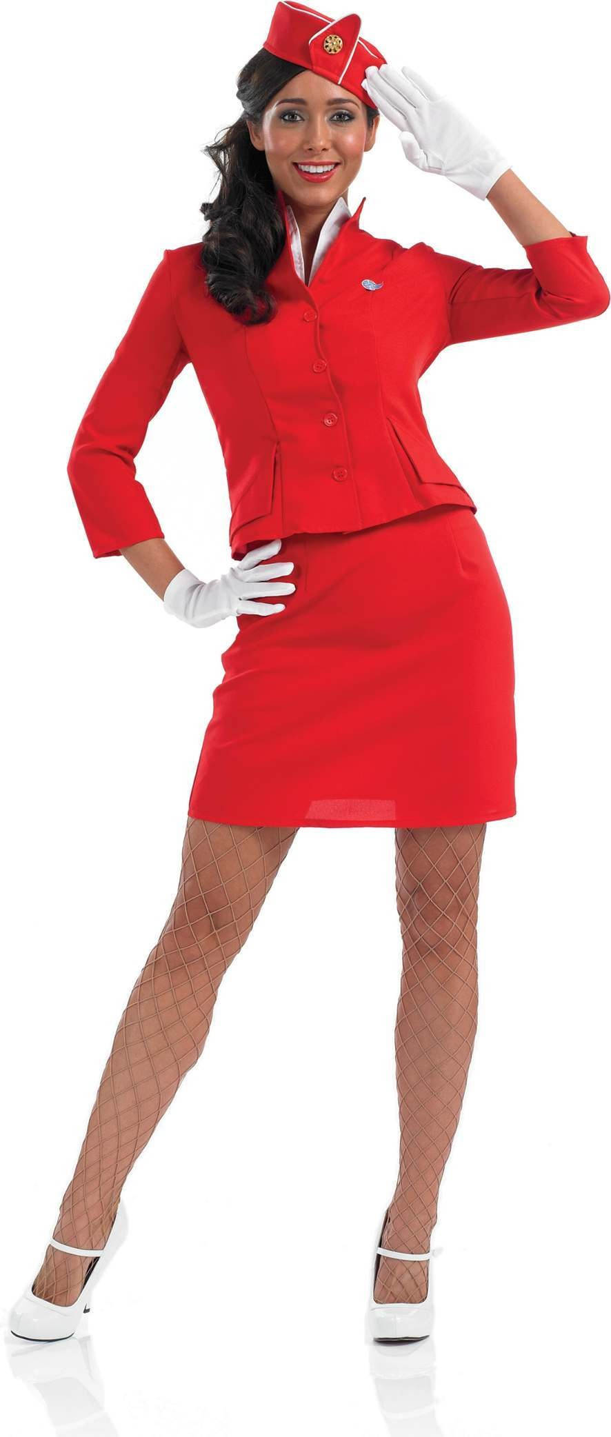 Red Cabin Crew Fancy Dress Costume