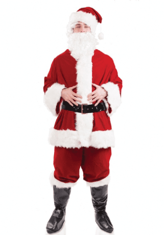 Mens Plush Santa Suit. Includes:Jacket,Trousers,Belt And Hat.