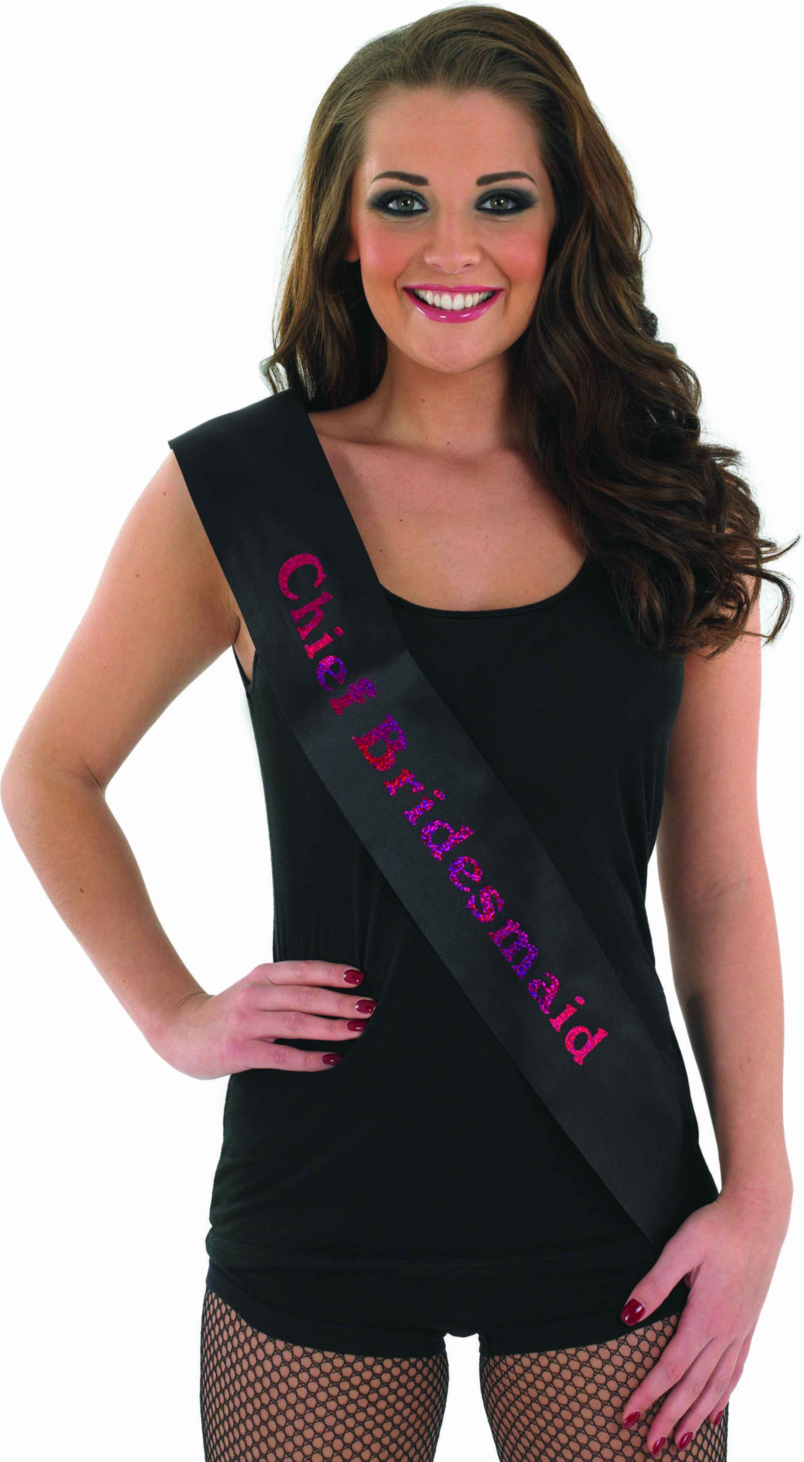 Chief Brides Maid Sash - Black With Pink (Hen & Stag Fancy Dress)