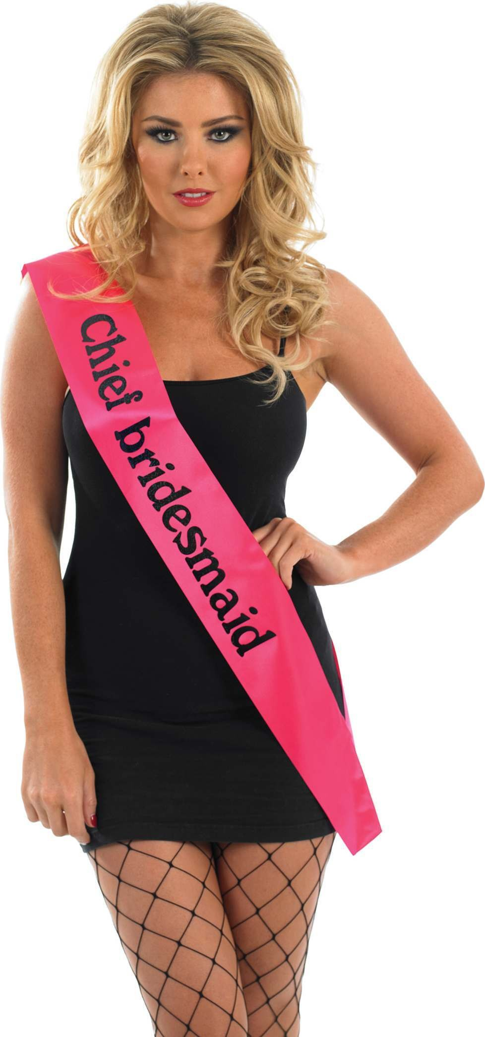 Chief Bridesmaid Sash - Pink With Black (Hen & Stag Fancy Dress)