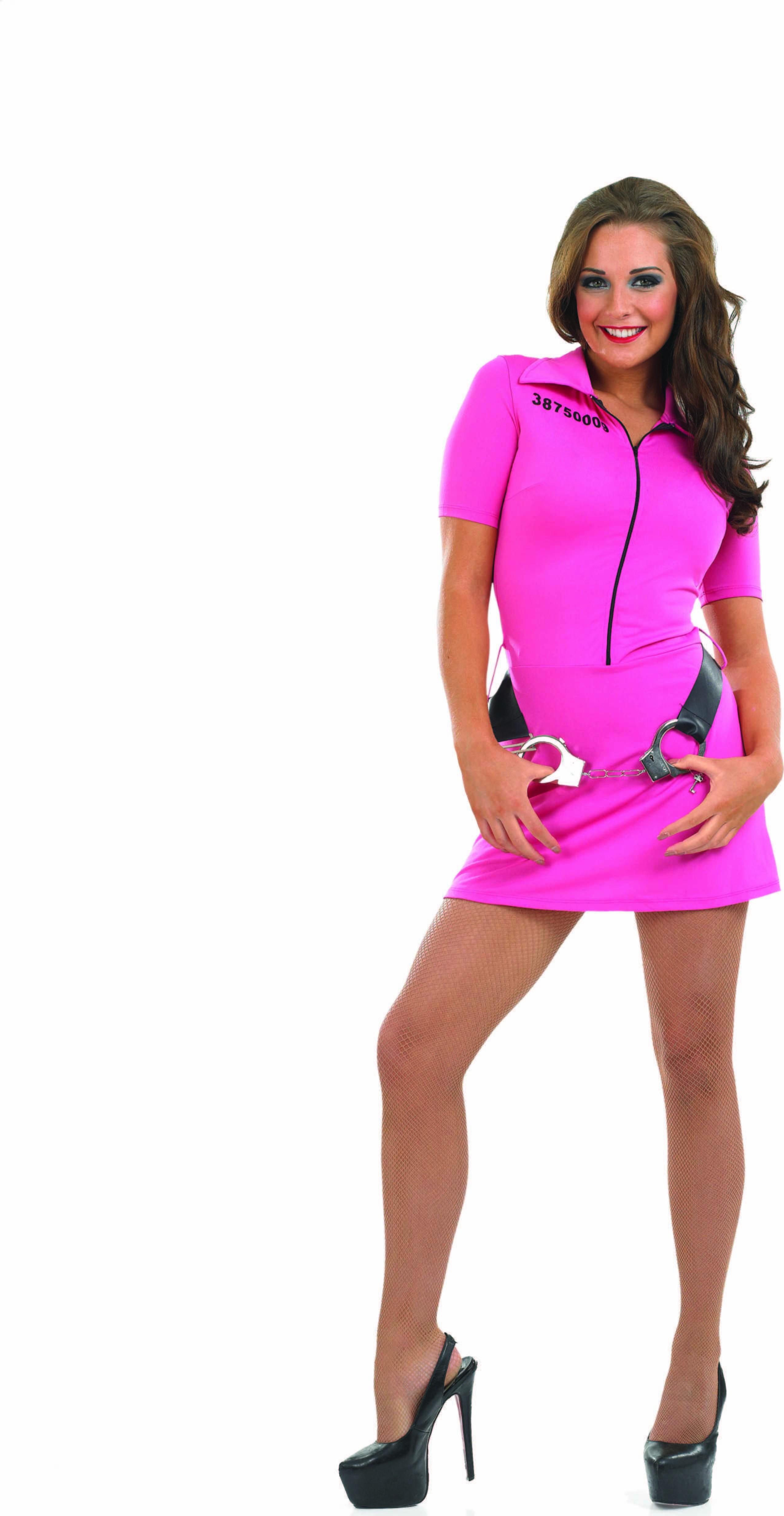 Ladies Pink Prisoner Girl Cops/Robbers Outfit - (Pink)