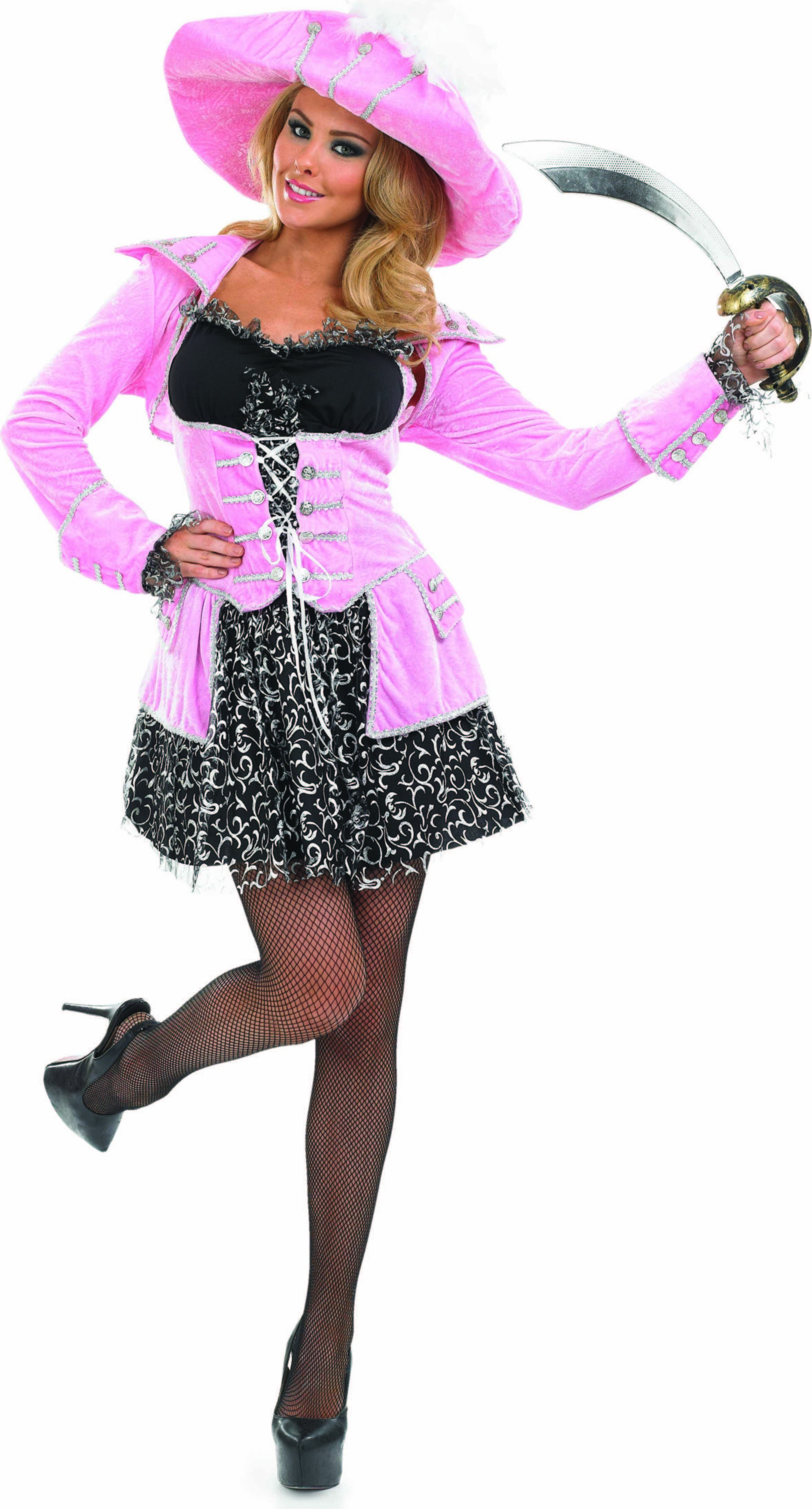 Ladies Pink Glitzy Pirate Pirates Outfit - (Pink)