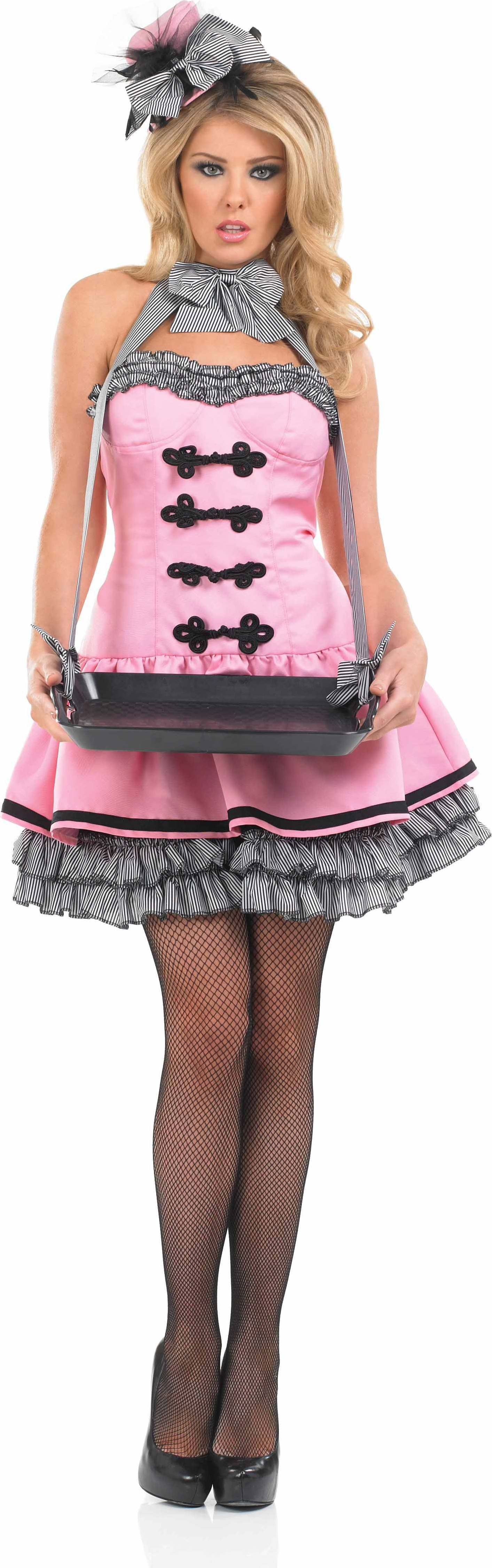 Ladies Usherette Girl Usherette Outfit - (Pink)