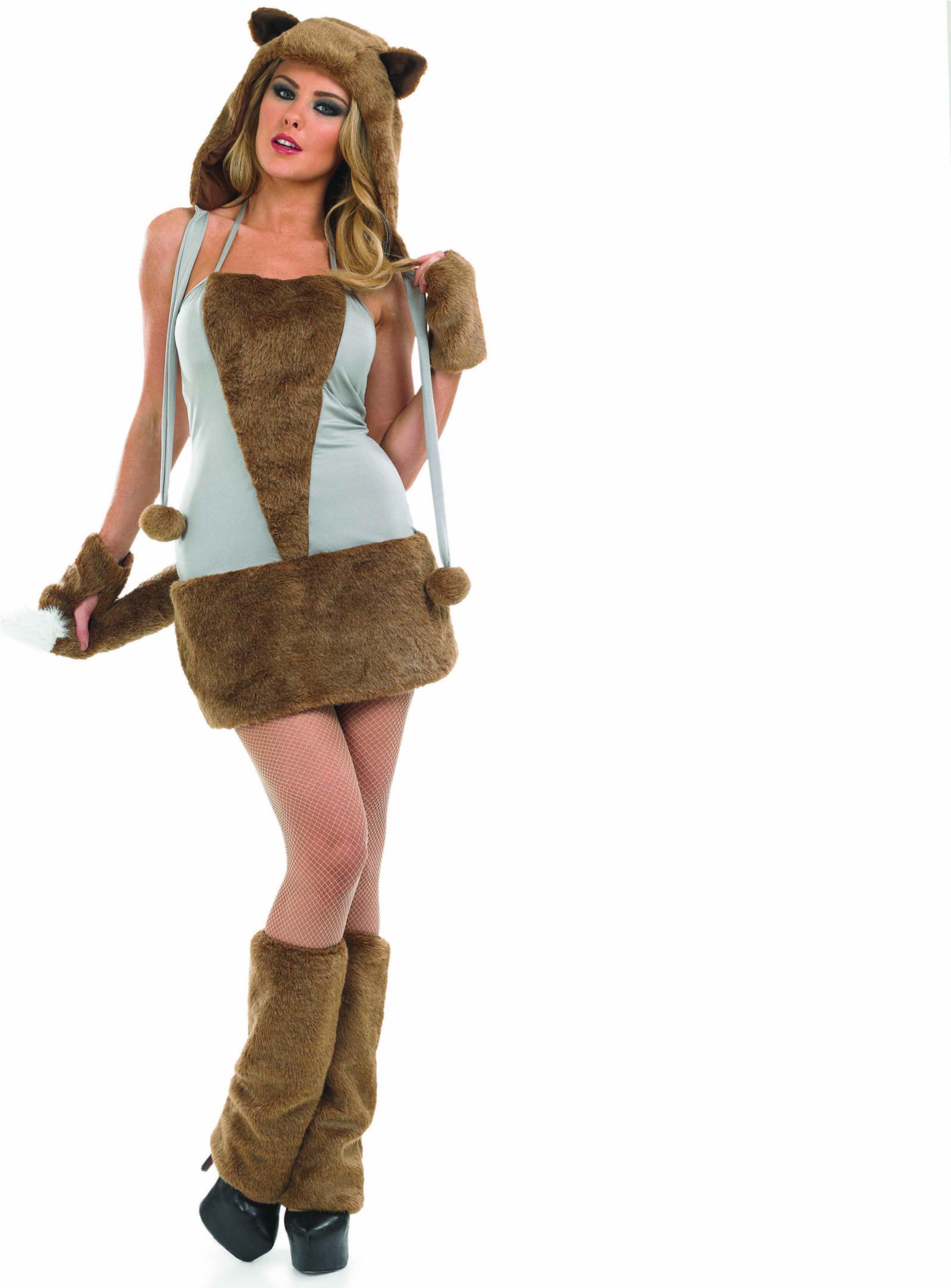 Ladies Lady Fox Costume Animal Outfit (Brown)