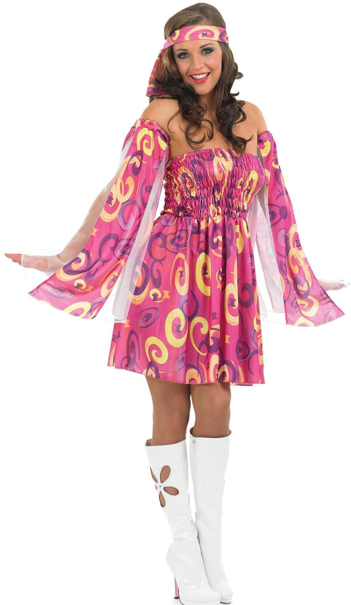 Ladies 60S Swirl Dress Pirates Outfit - (Pink)