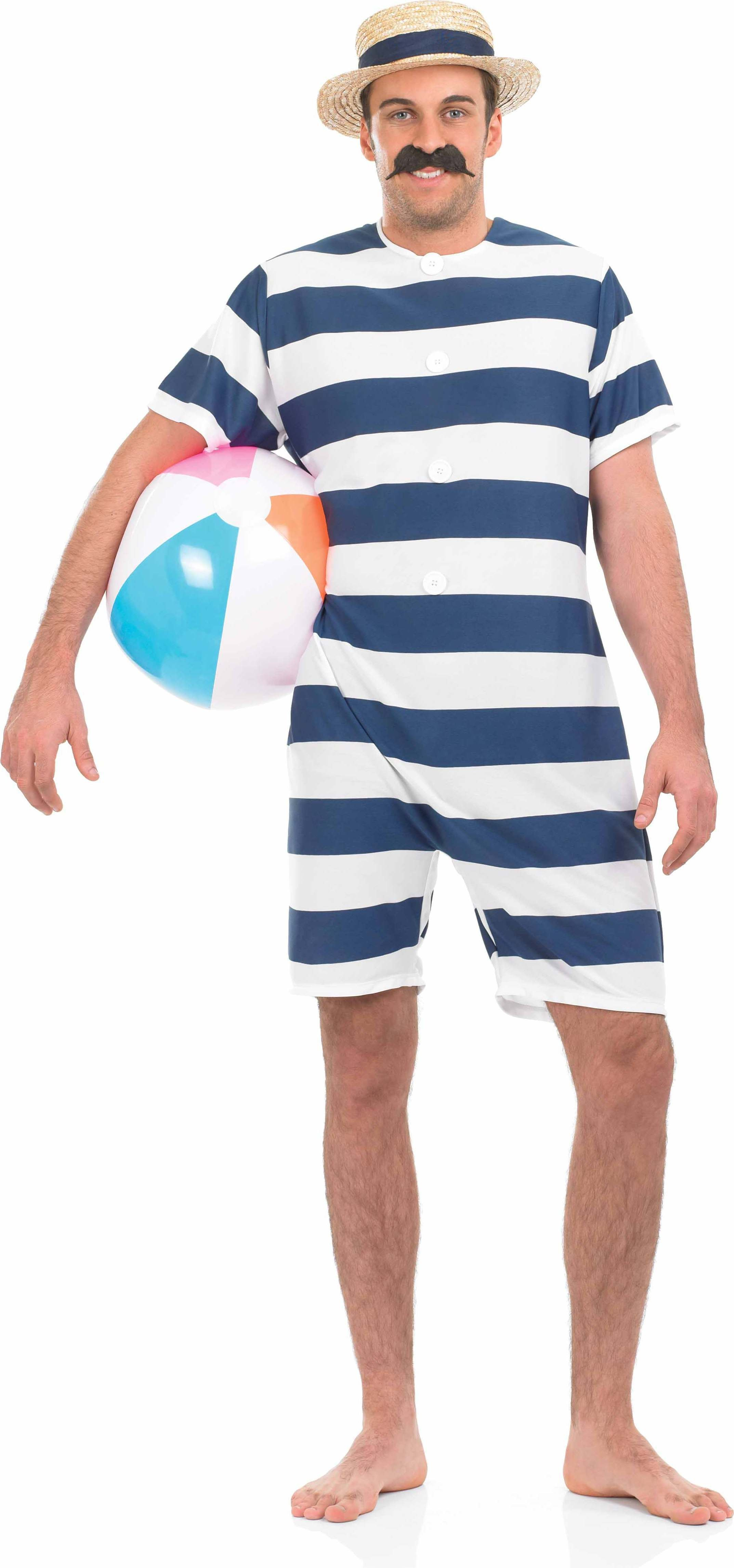 Mens Mens Old Time Bathing Suit Old English Outfit (White, Blue)