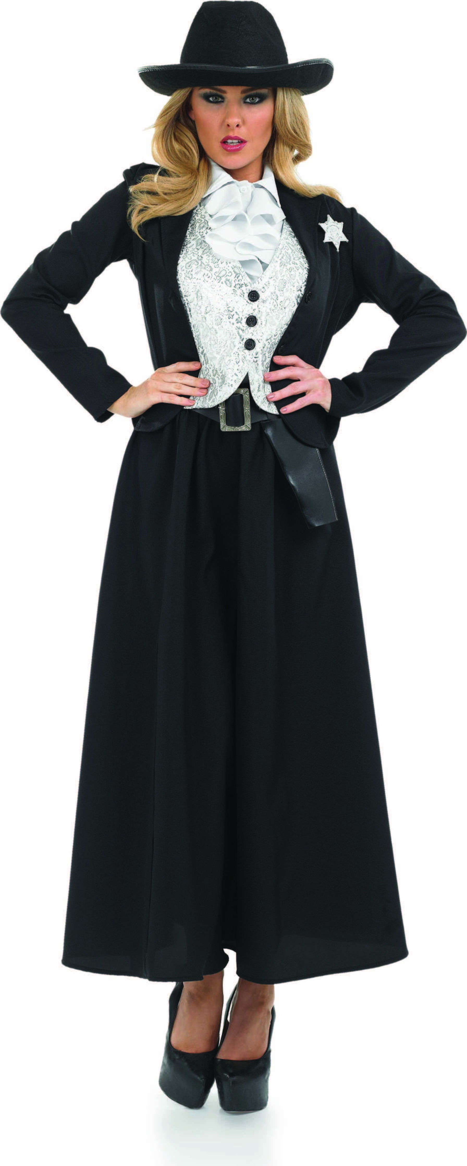 Ladies Old Time Female Sherif Sheriff Outfit - (Black, White)