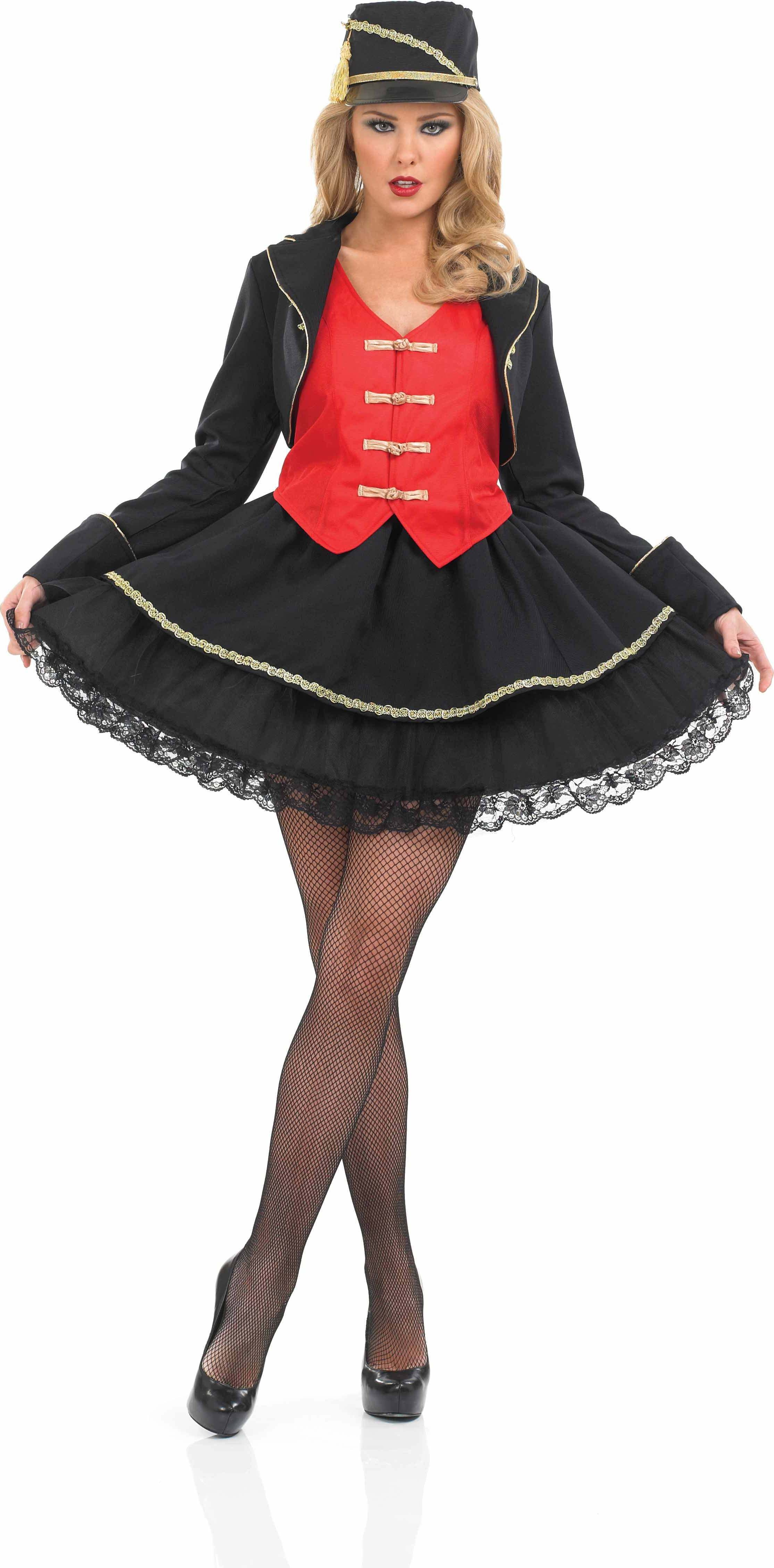 Ladies Drum Majorette Majorette Outfit - (Black, Red)