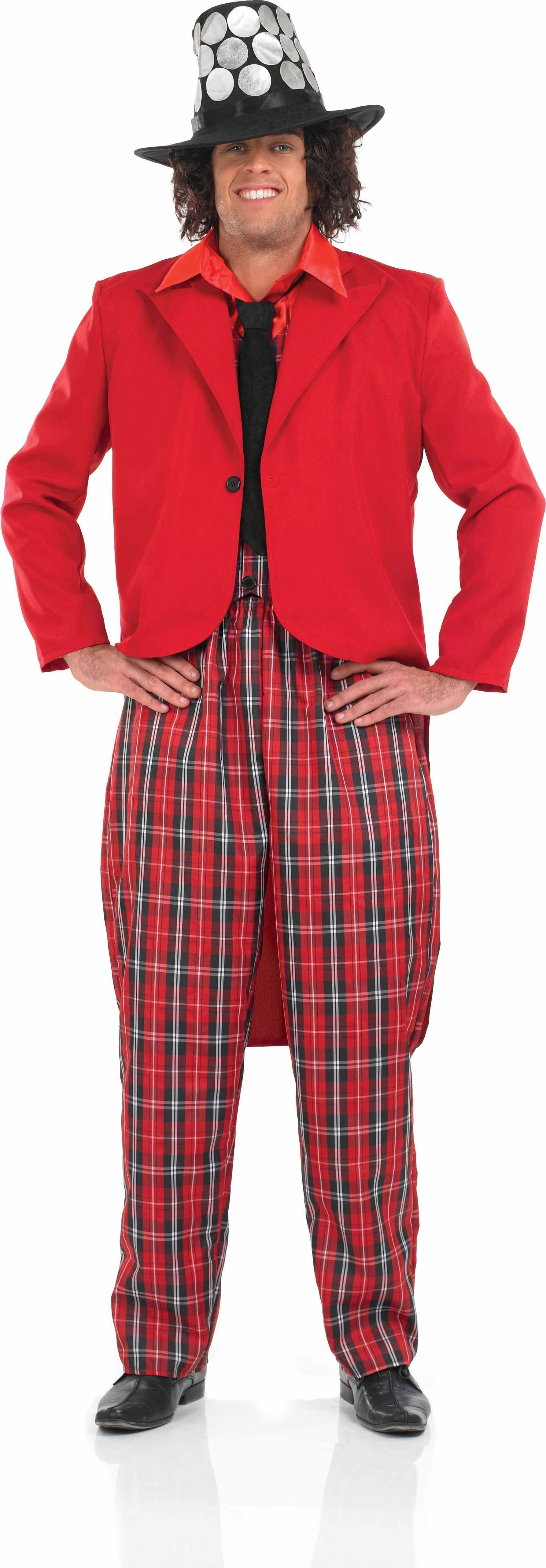 Mens 70S Pop Legend 1970'S Outfit (Red, Black)