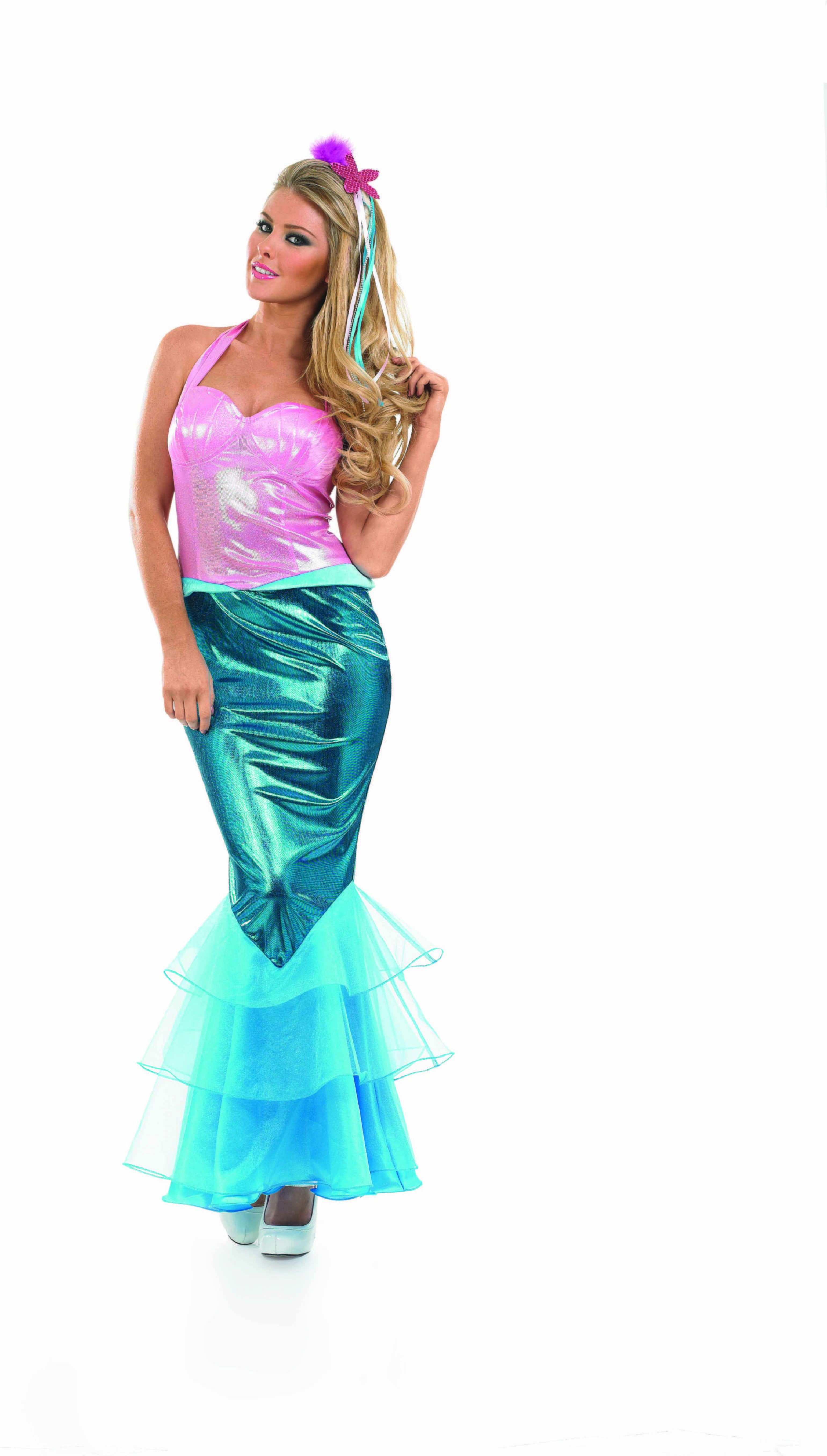 Ladies Mermaid Fairy Tales Outfit - (Pink, Turquoise)