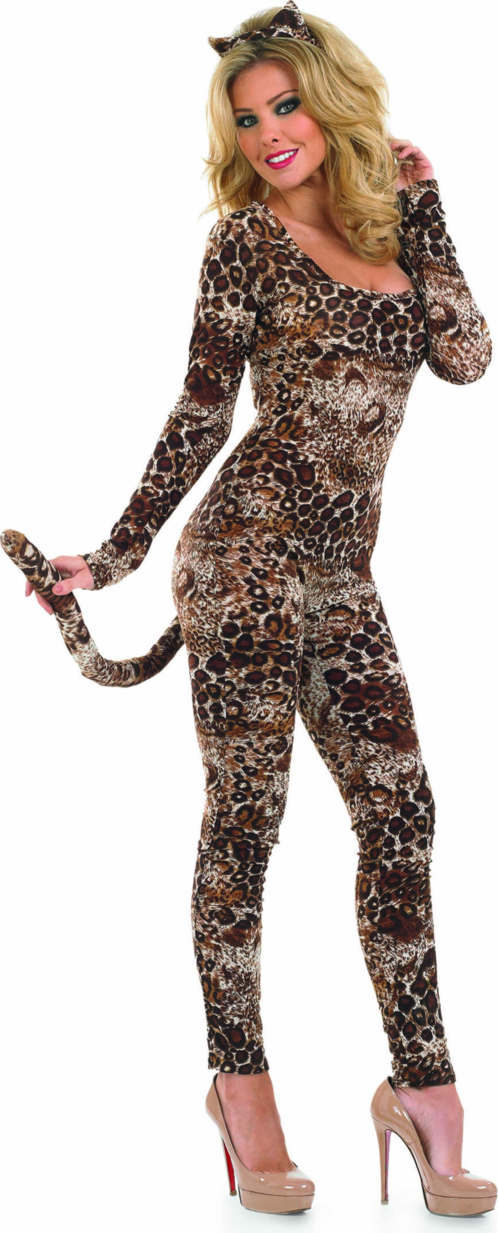 Ladies Cougar Catsuit Animal Outfit - (Brown)