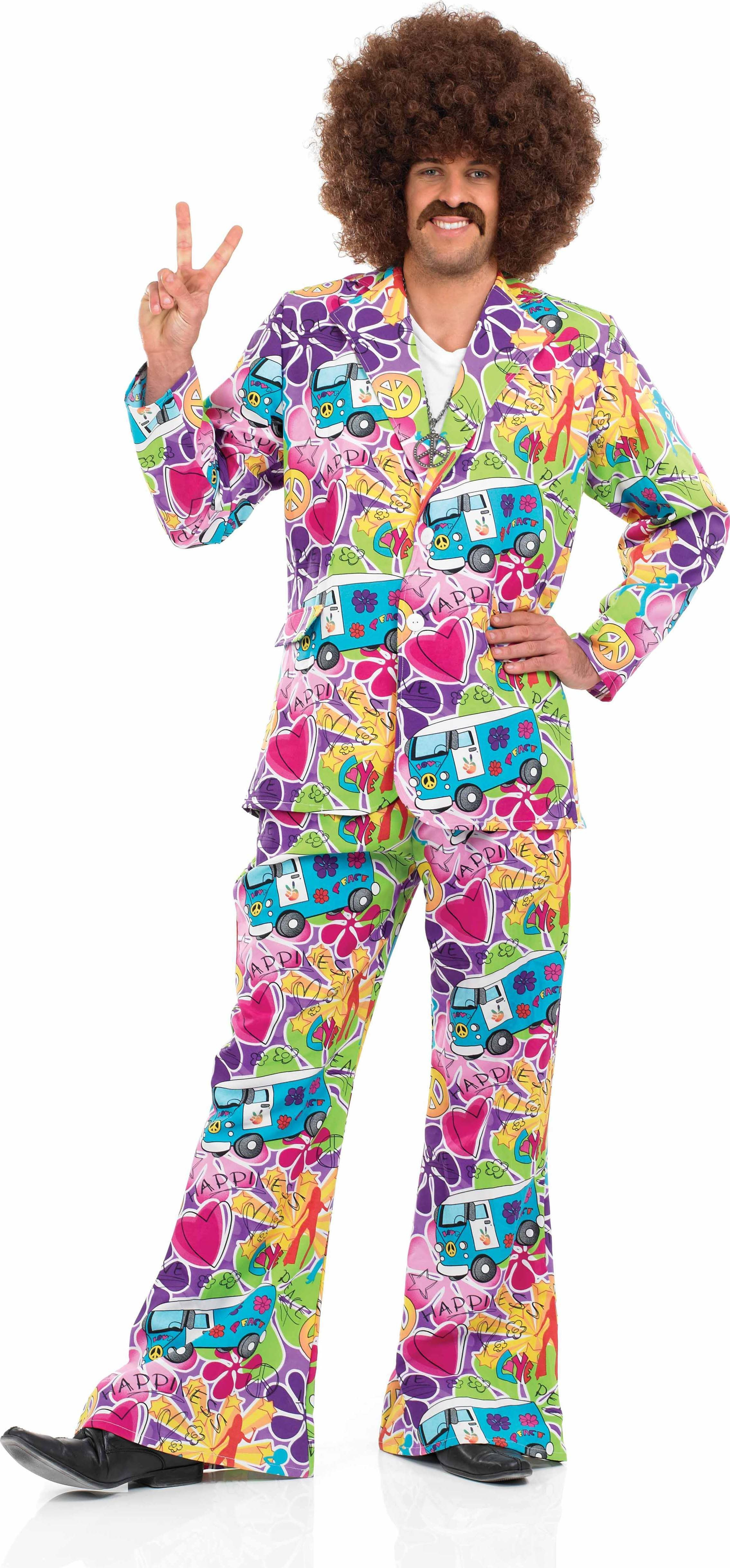 Mens Mens Psychedelic Suit Hippy Outfit (Multicolour)