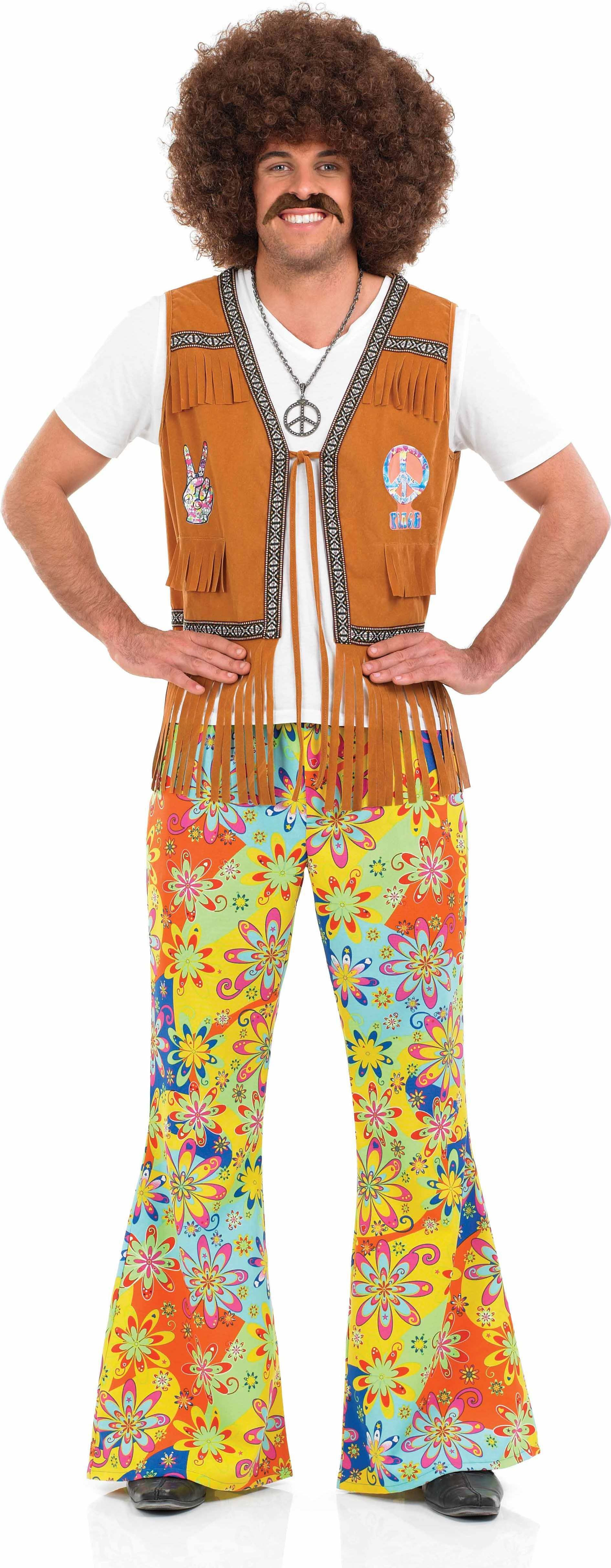 Mens Psychedelic Floral Trousers Hippy Outfit (Multicolour)