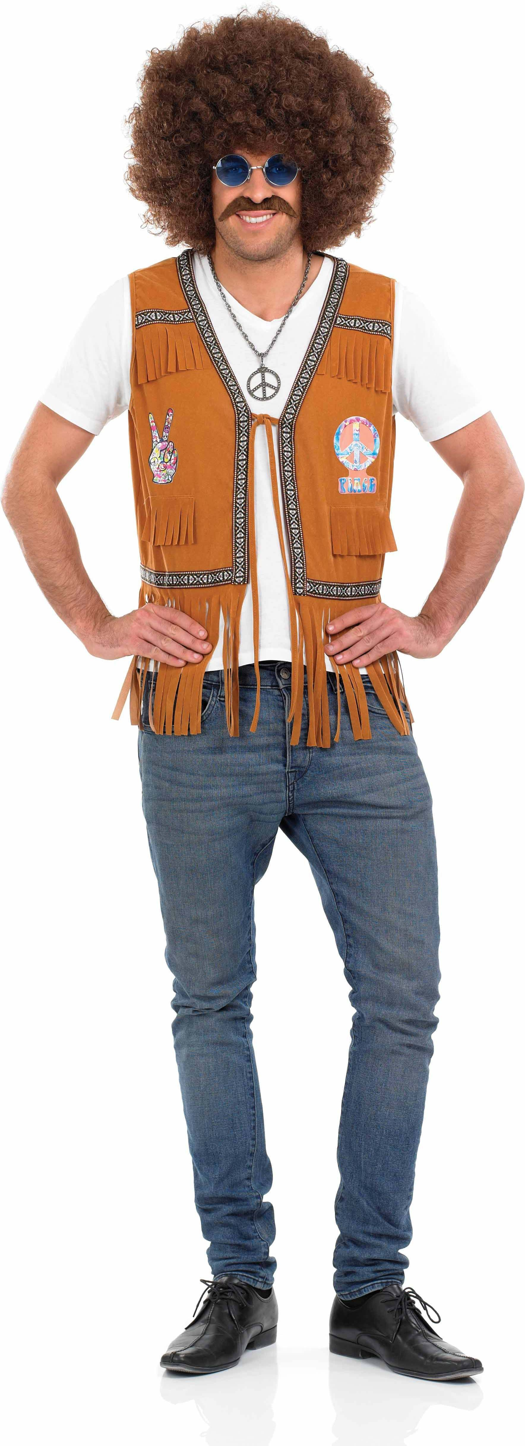 Mens Hippie Fringed Waistcoat Hippy Outfit (Brown)