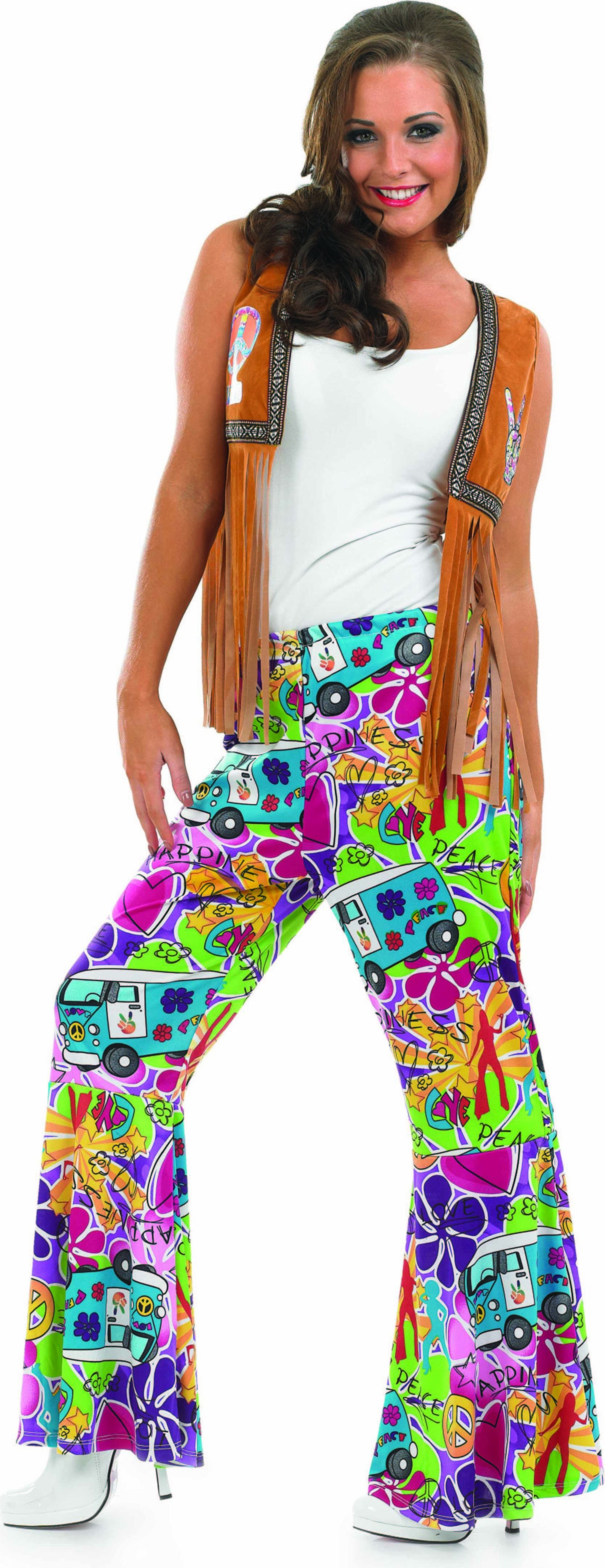 Ladies Hippie Patterned Flares Hippy Outfit - (Multicolour)