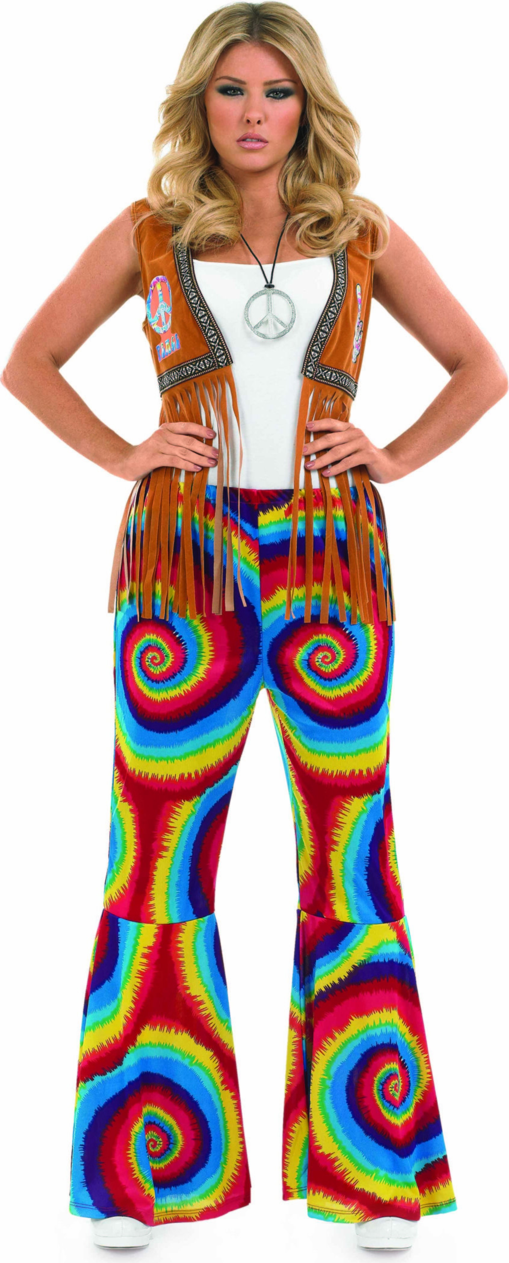 Ladies Tie Dye Flares Hippy Outfit - (Multicolour)