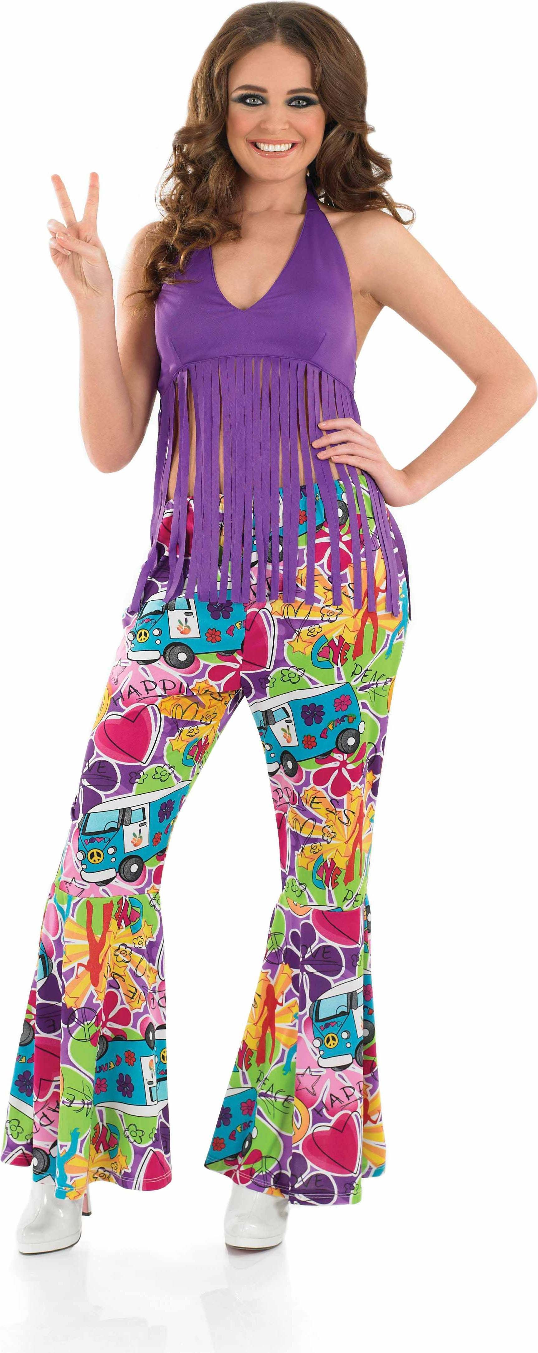 Ladies Purple Fringed Top Hippy Outfit - (Purple)