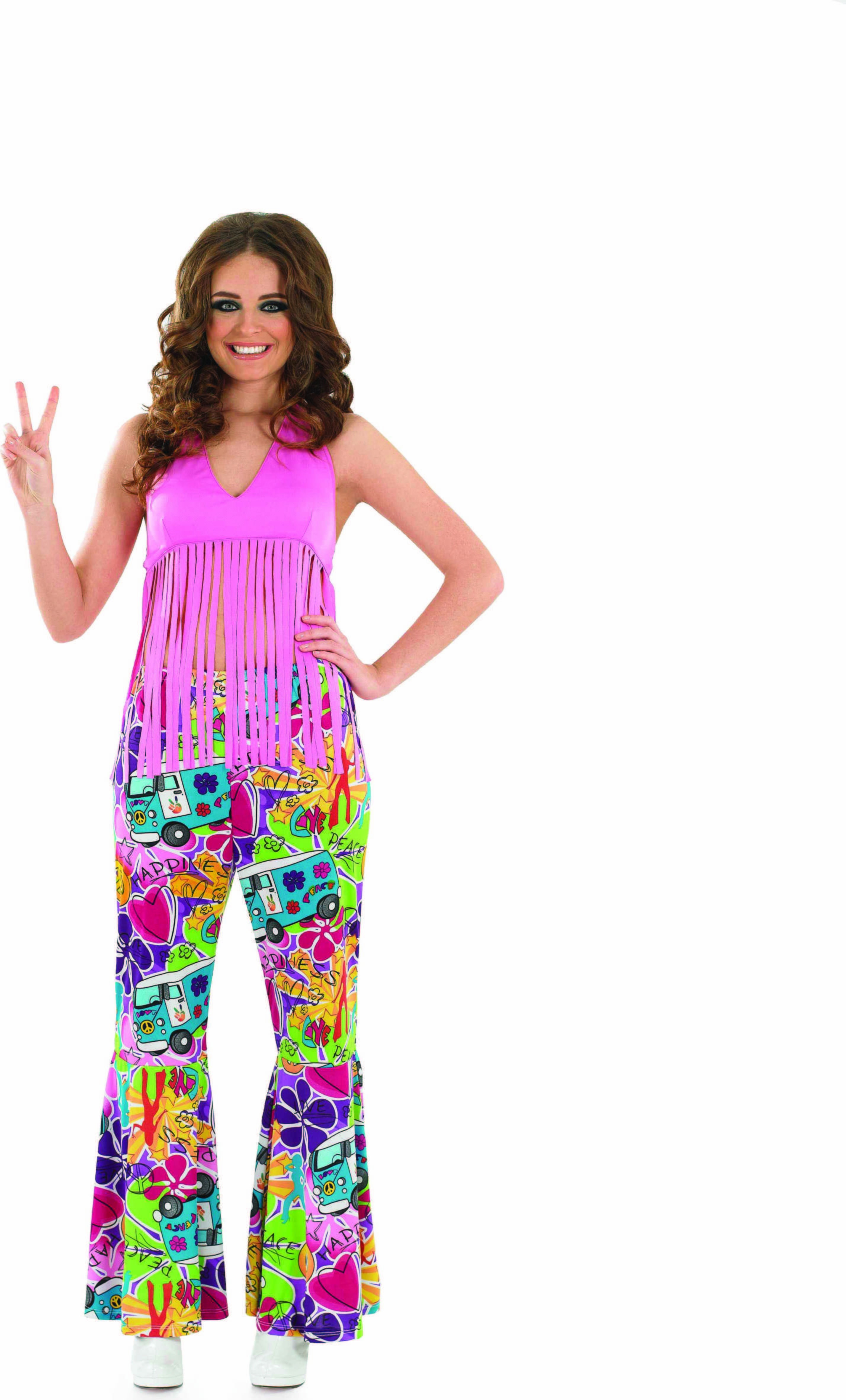 Ladies Pink Fringed Top Hippy Outfit - (Pink)