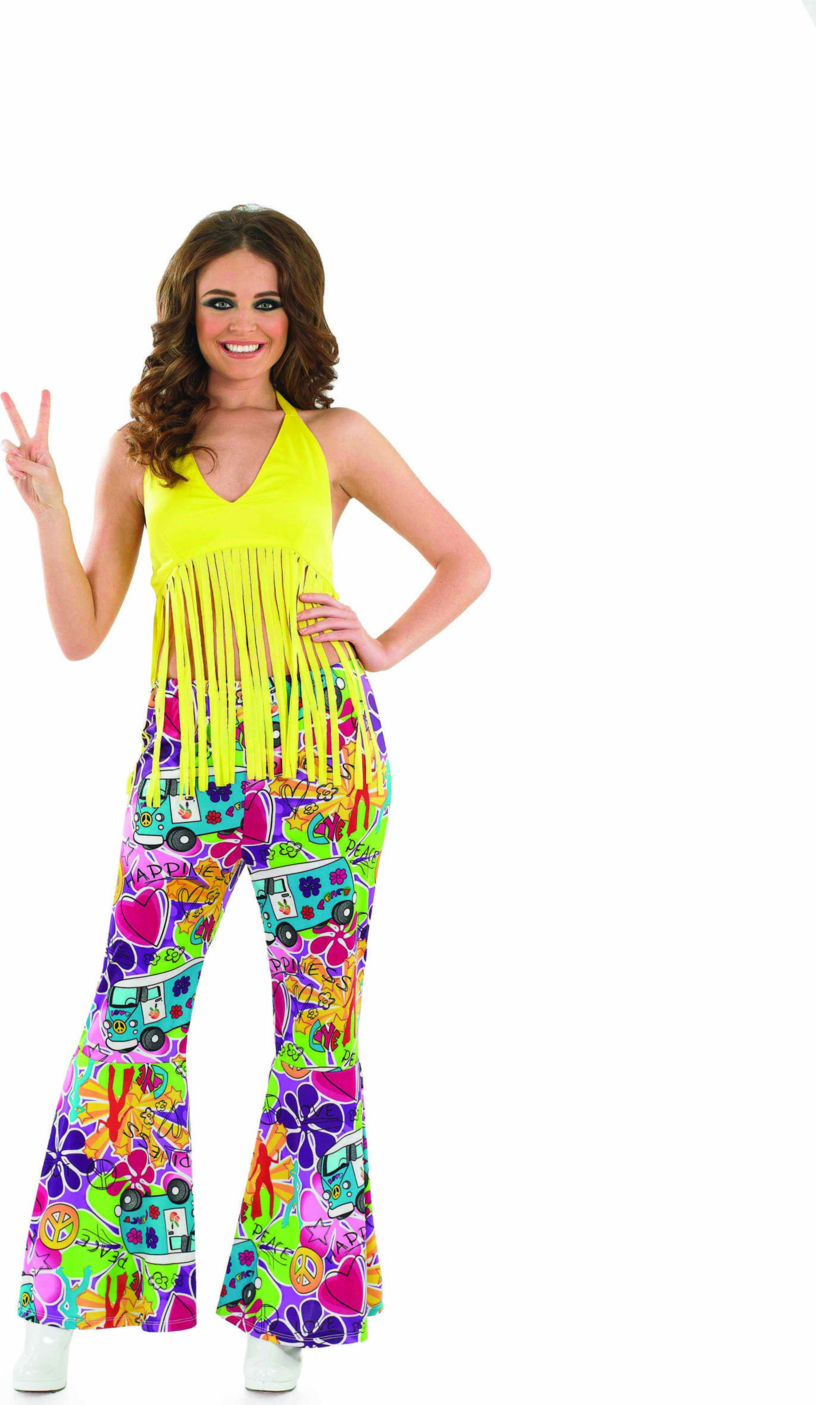 Ladies Yellow Fringed Top Hippy Outfit - (Yellow)