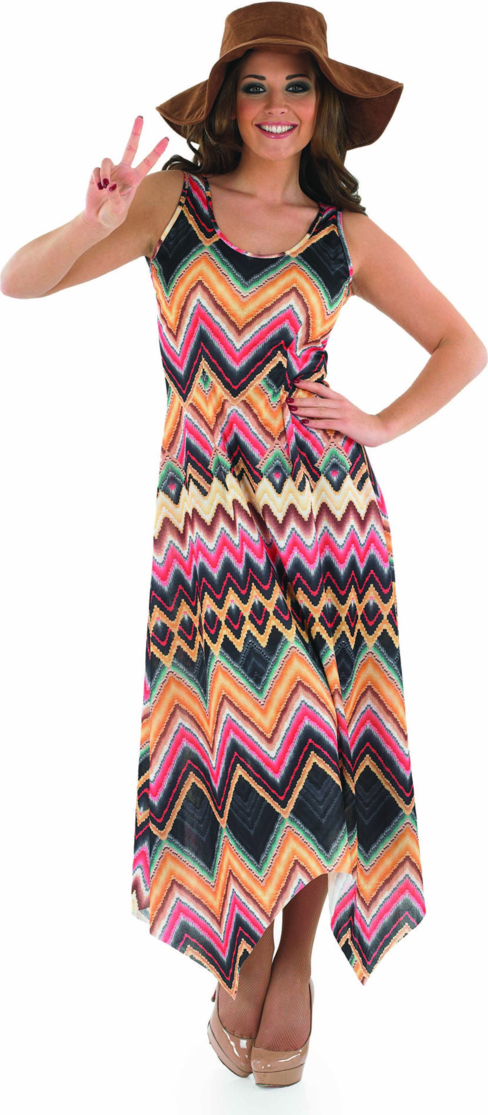 Ladies Hippie Dress Hippy Outfit - (Multicolour)