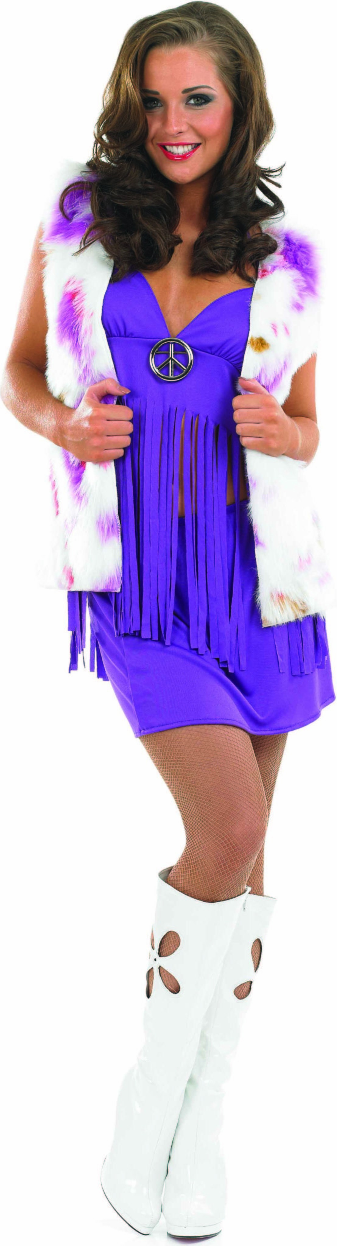 Ladies Hippie Chic Hippy Outfit - (Purple, White)