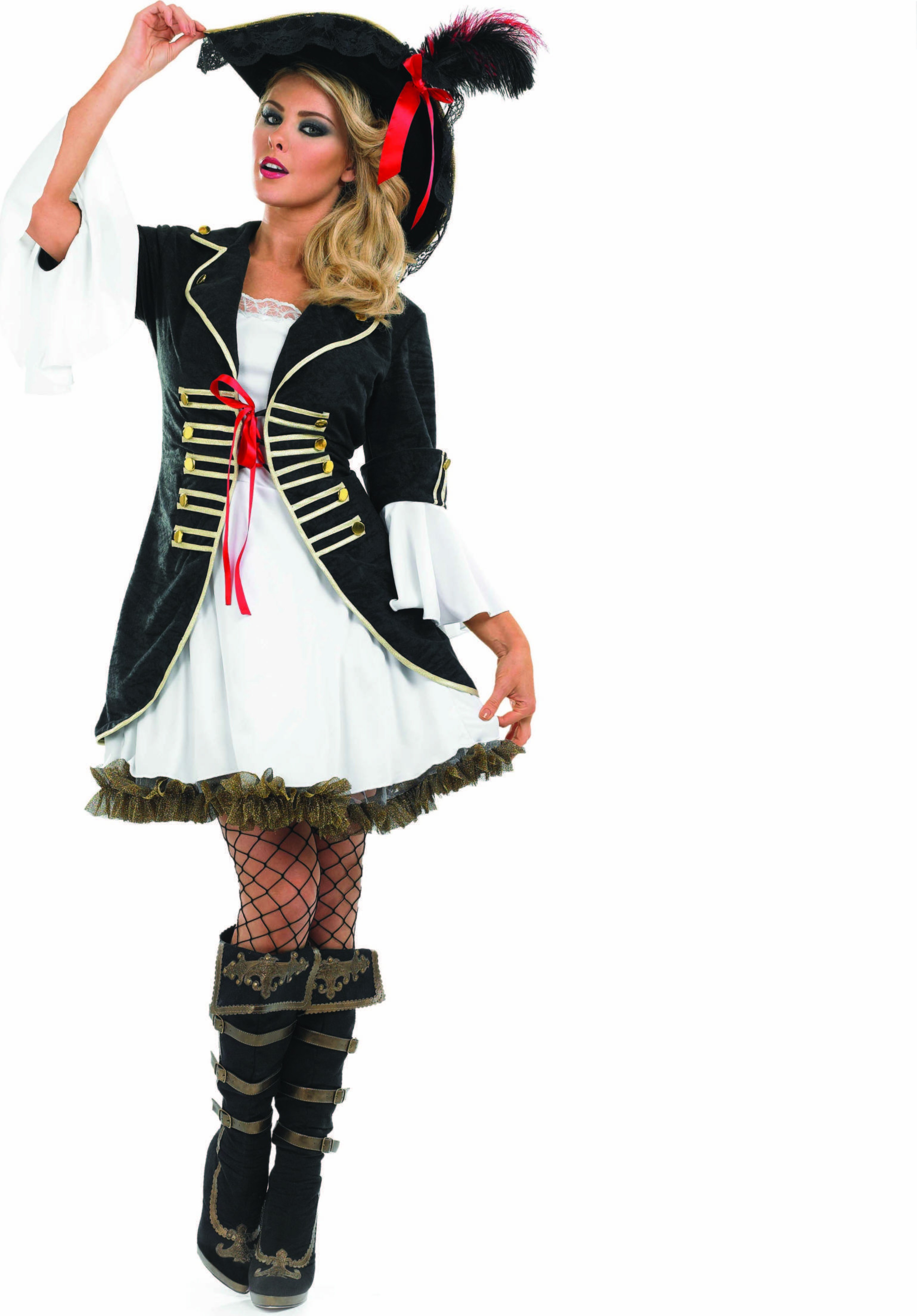 Ladies Buccaneer Girl Pirates Outfit - (Black, White)