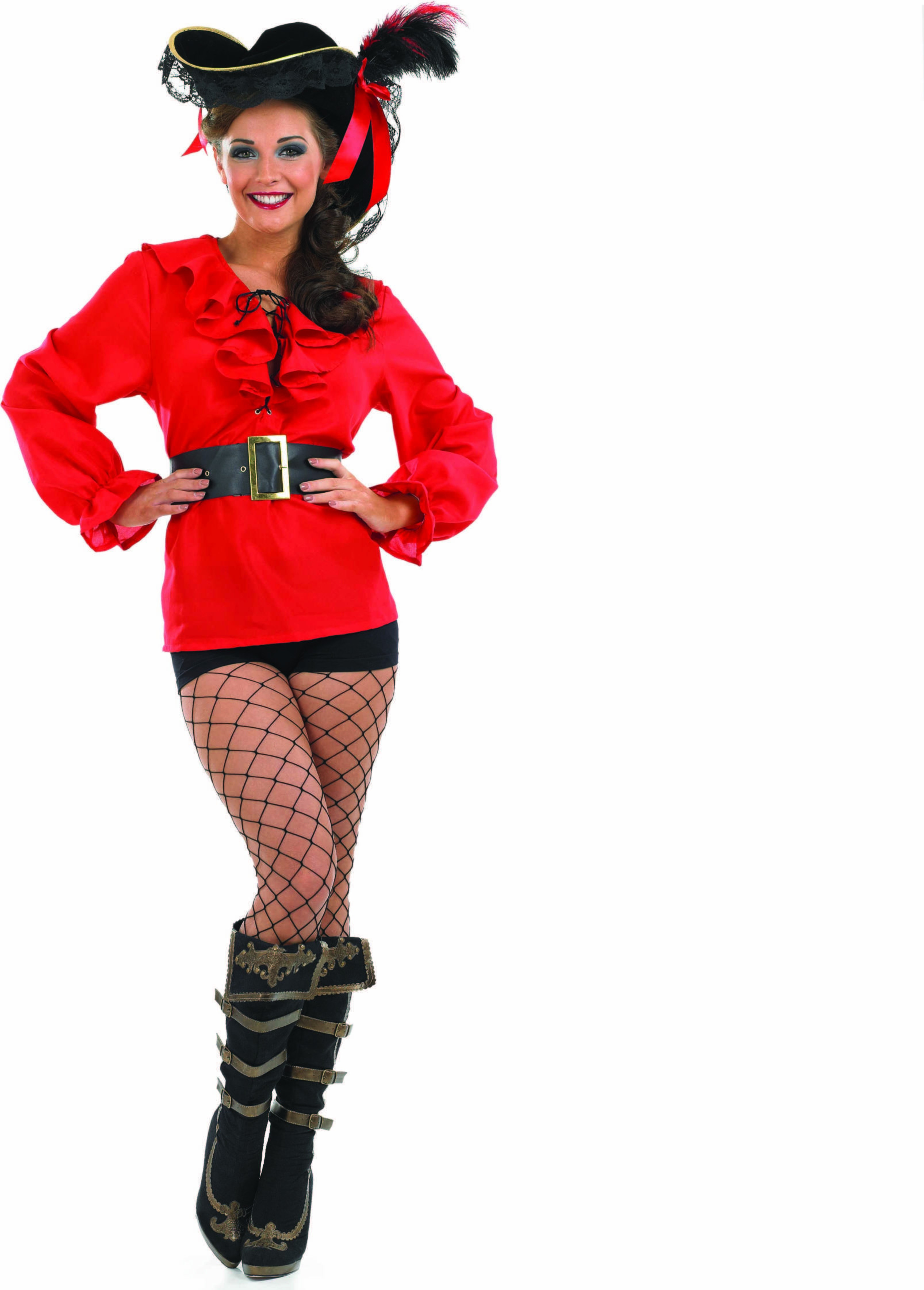 Ladies Red Pirate Shirt Outfit - (Red)