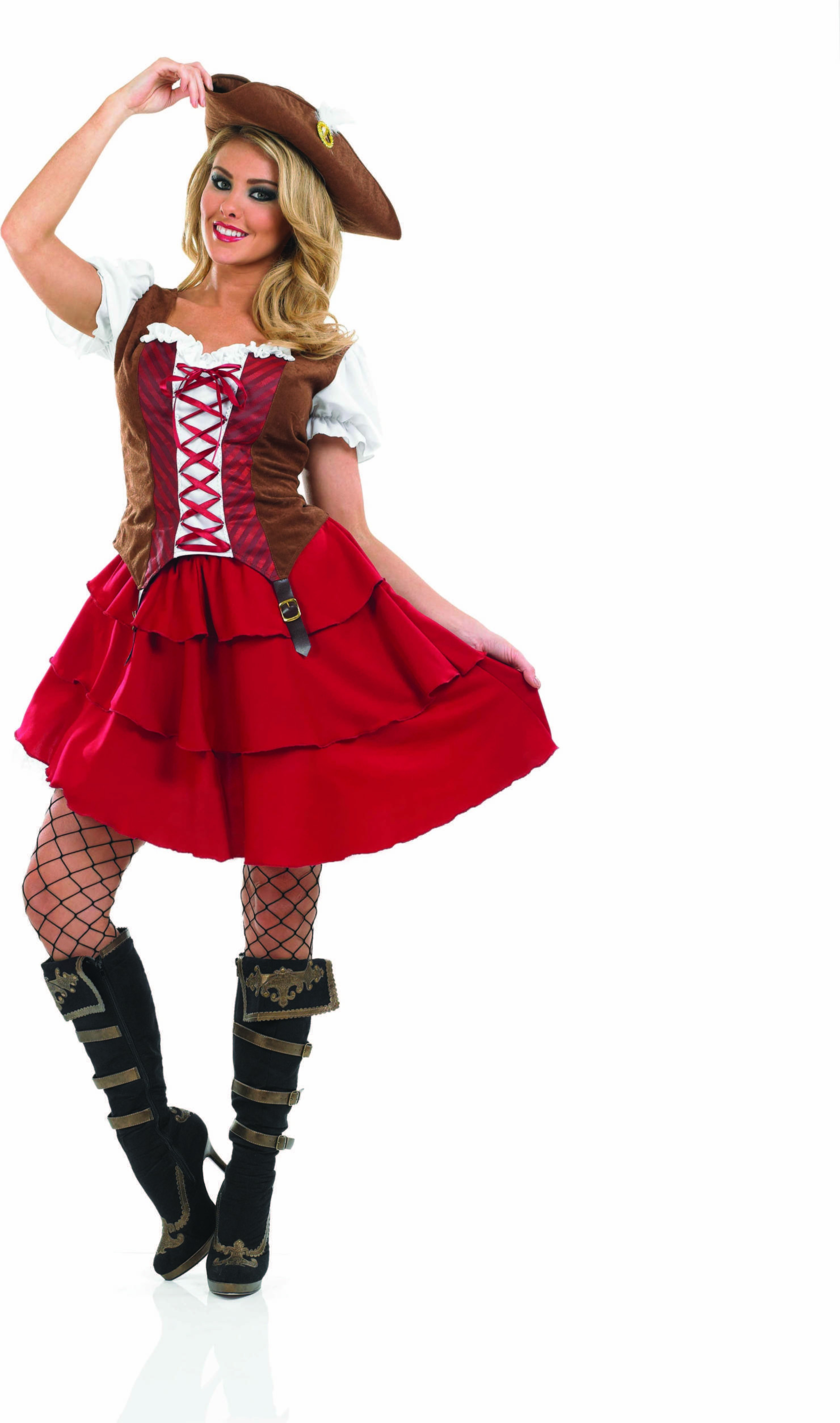 Ladies Deck Hand Girl Pirates Outfit - (Red, Brown)