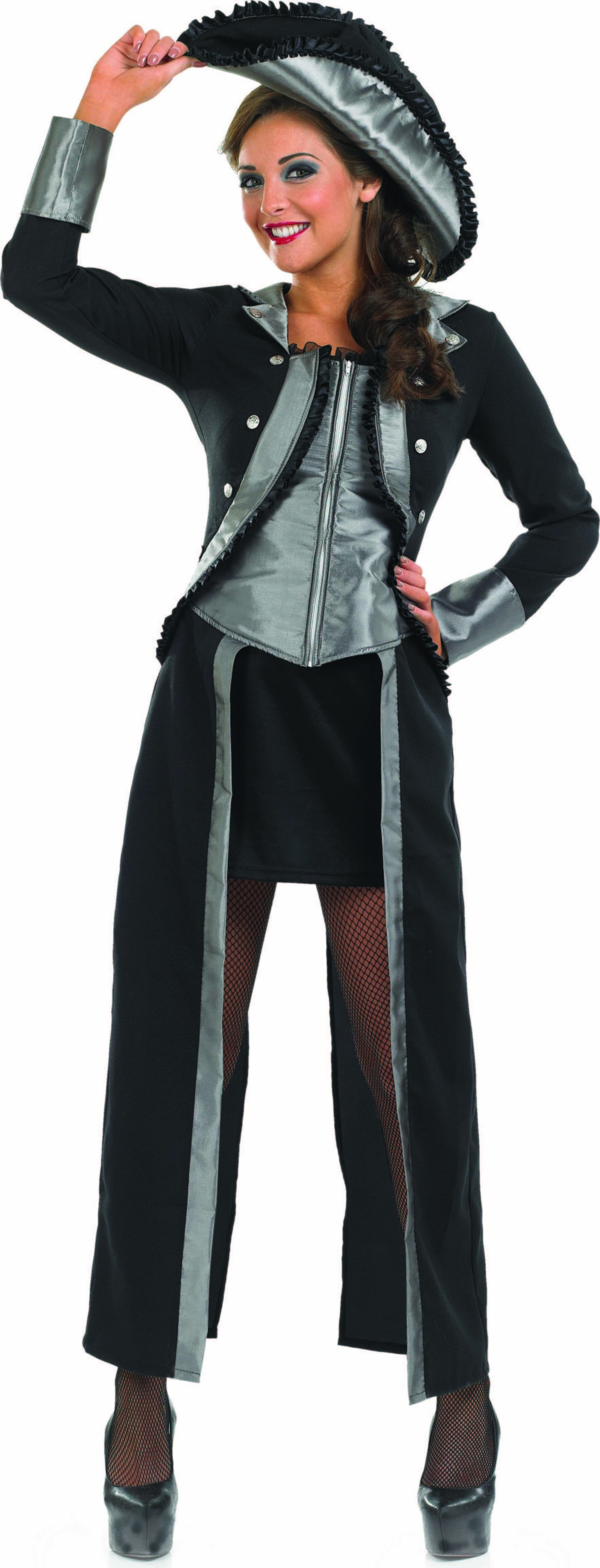 Ladies Captains Mate Pirates Outfit - (Black, Grey)