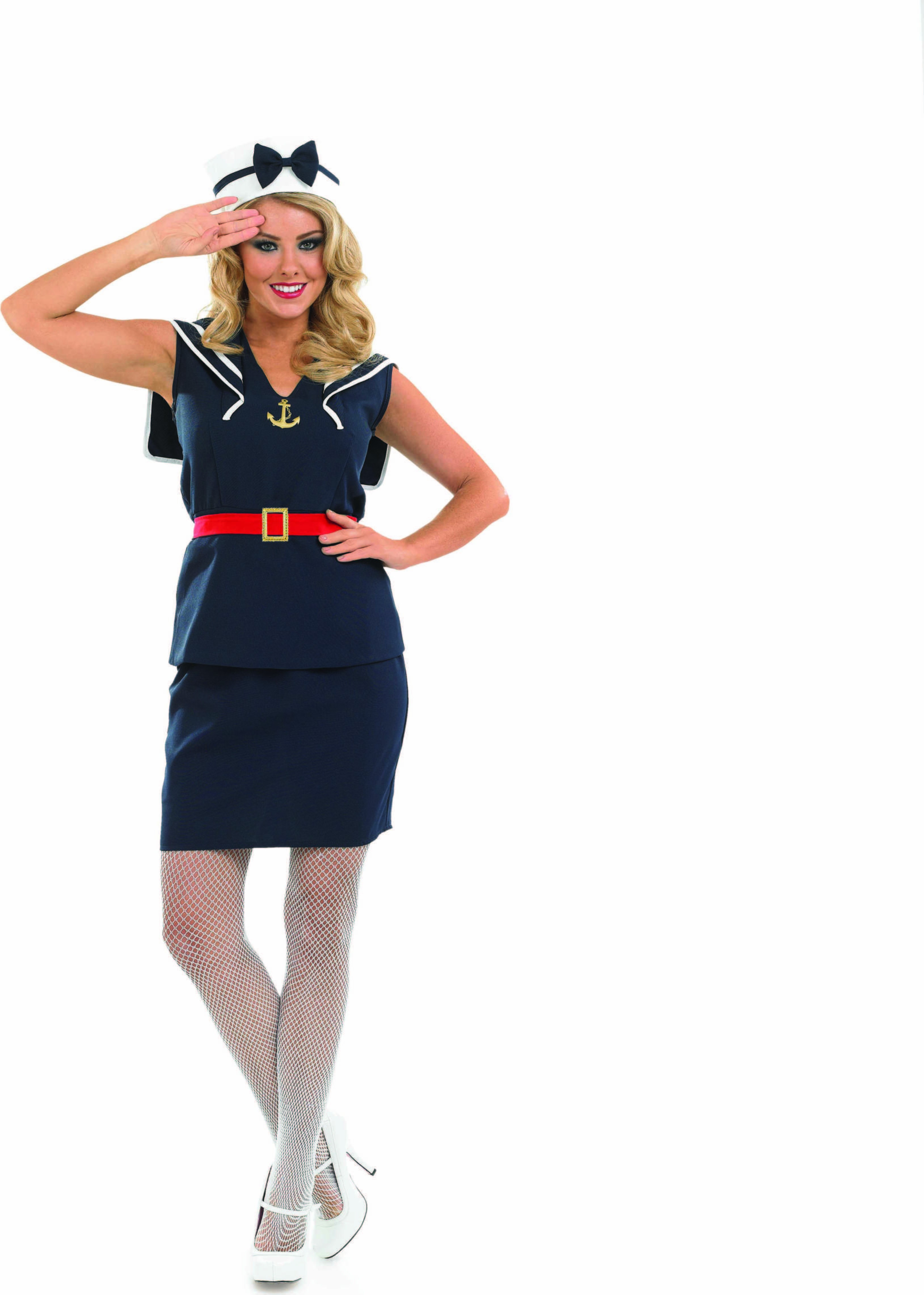 Ladies Pin Up Sailor Girl Sailor Outfit - (Blue)