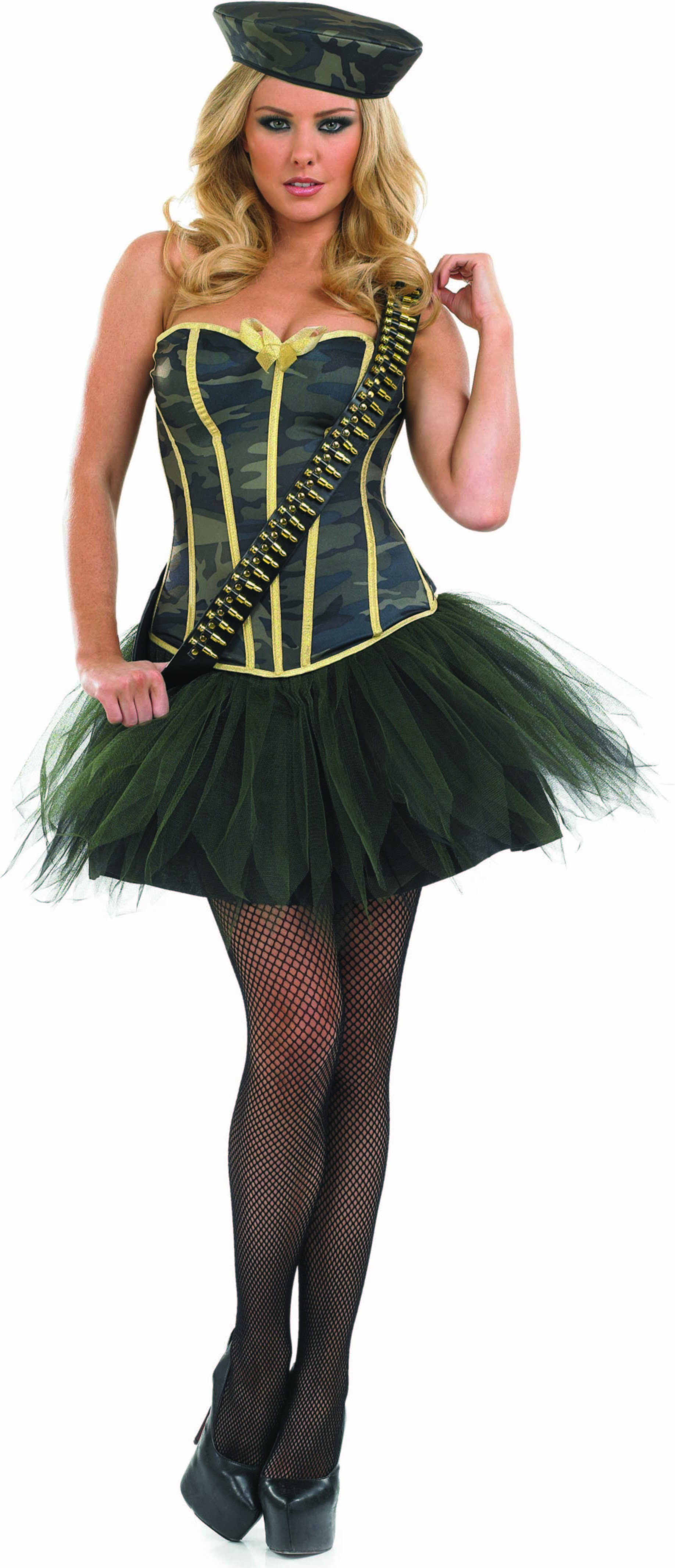 Ladies Tutu Army Girl Tutus - (Black, Gold)