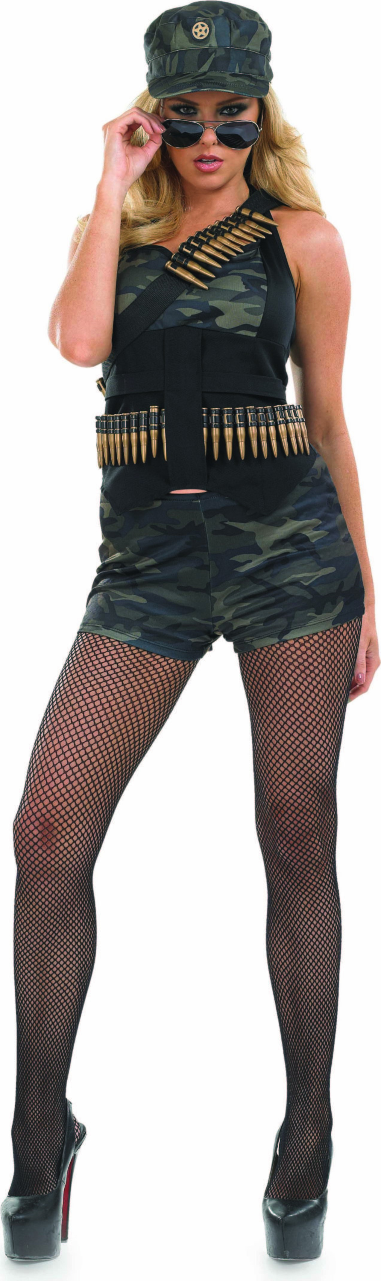 Ladies Hot Pants Hero Army Outfit - (Camo )