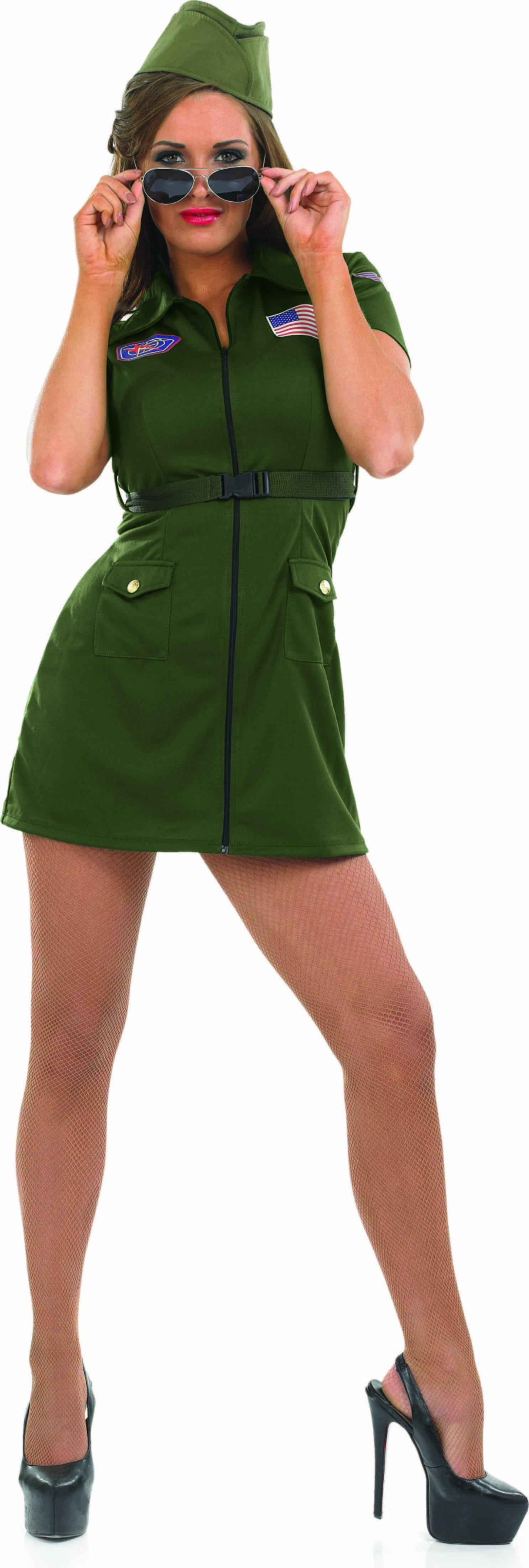 Ladies Aviator Girl Army Outfit - (Green)