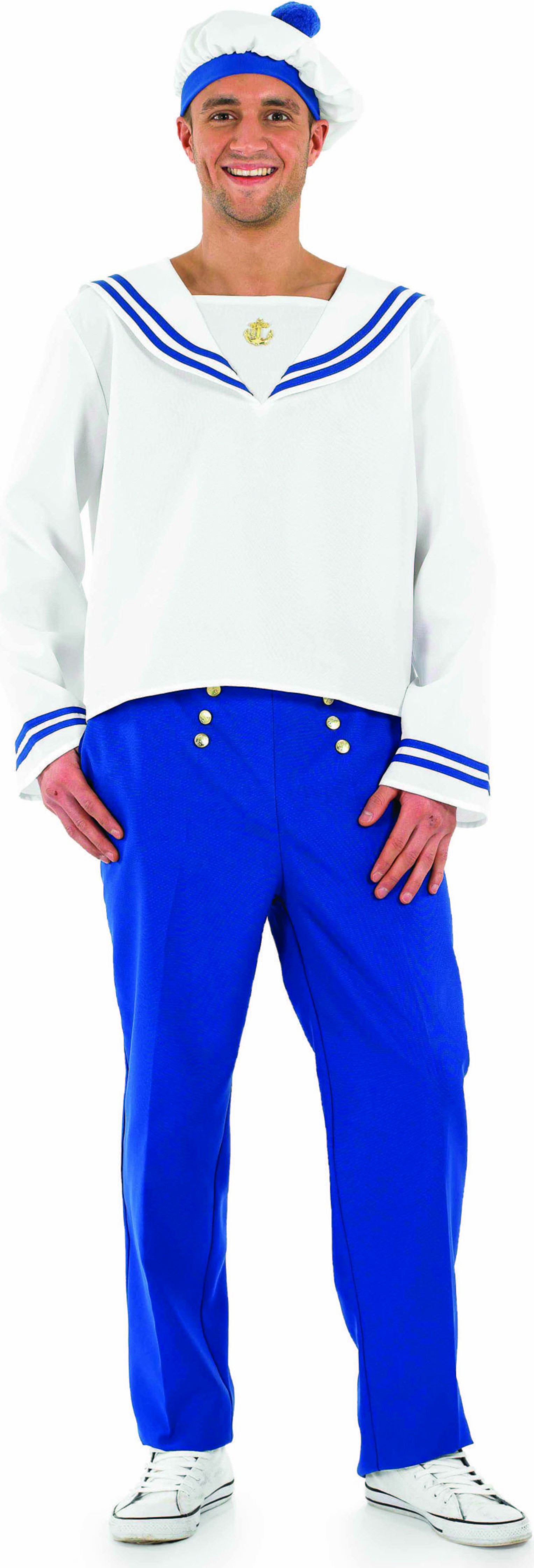 Mens Blue Sailor Guy Sailor Outfit (Blue, White)