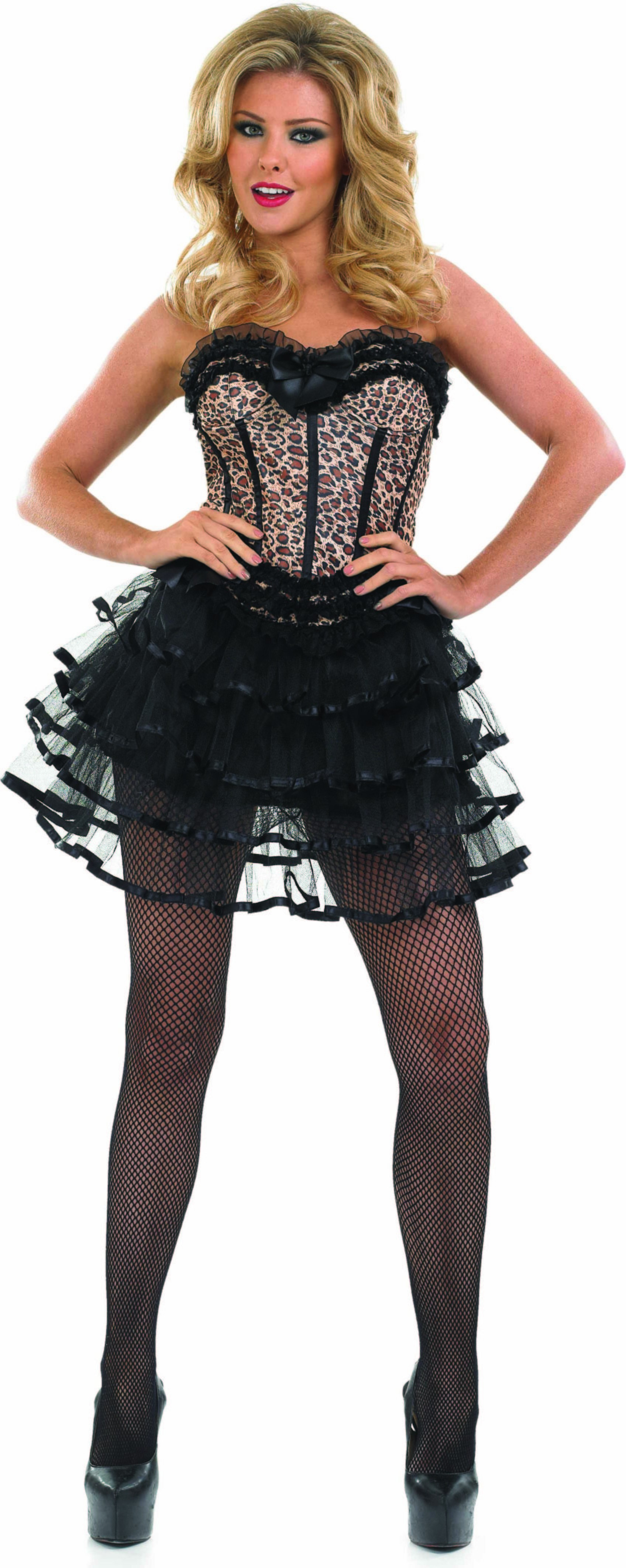 Ladies Leopard Corset & Layered Tutu Tutus - (Brown)