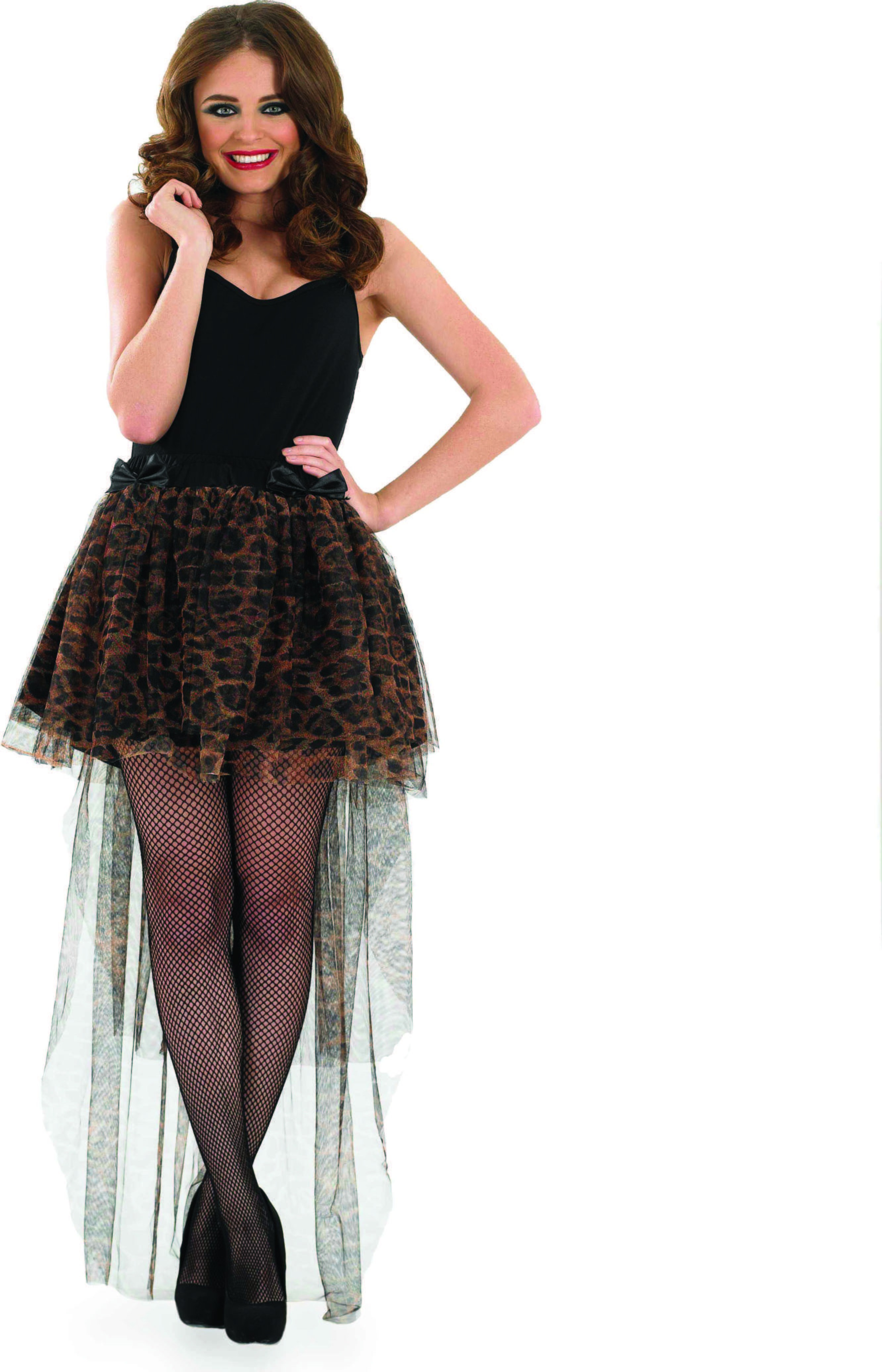 Ladies Long Tailed Leopard Tutu Tutus - (Brown)