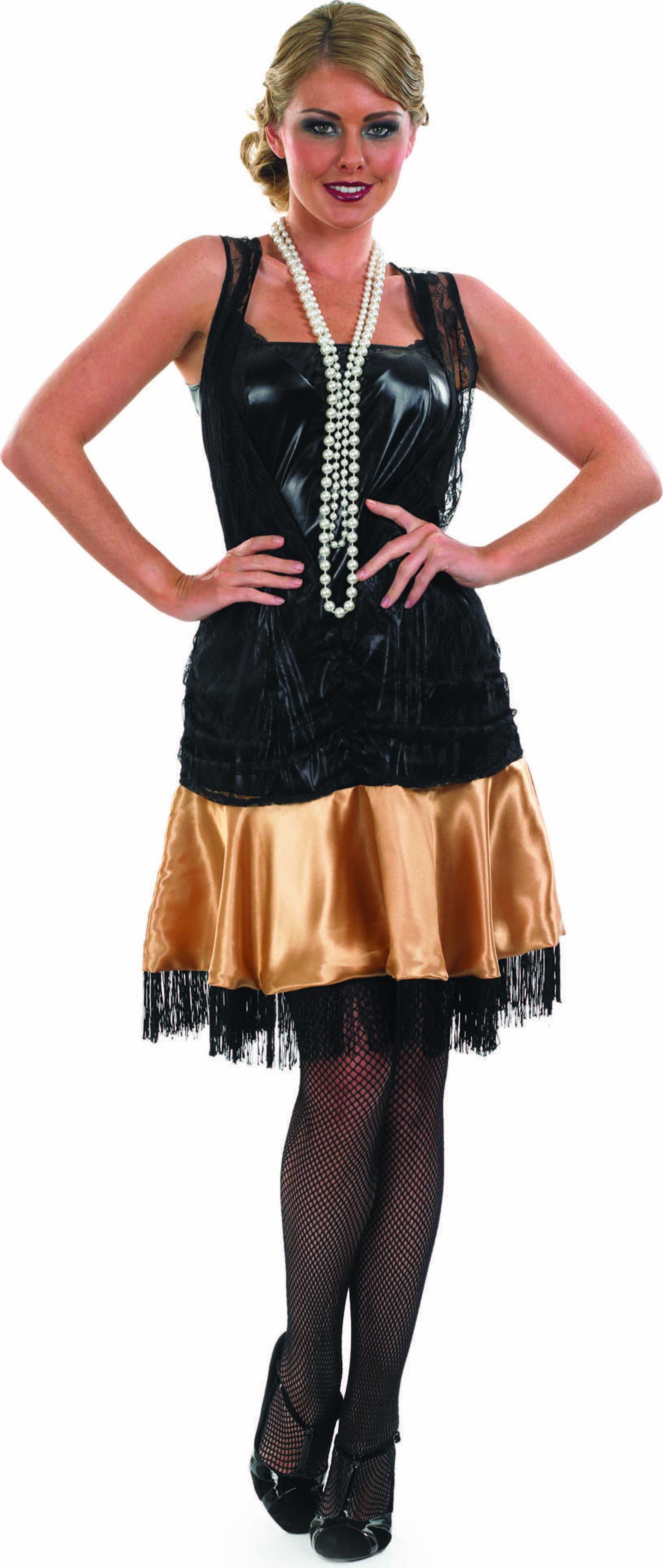 Ladies 1920S Party Dress 1920'S Outfit - (Black, Gold)