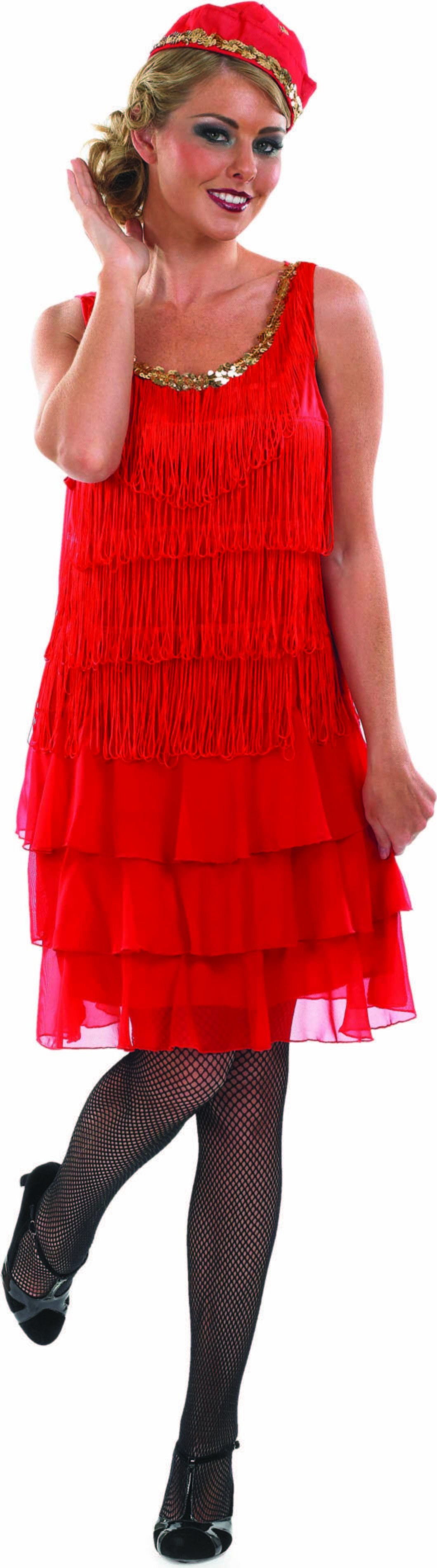 Ladies 1920S Cocktail Dress 1920'S Outfit - (Red)